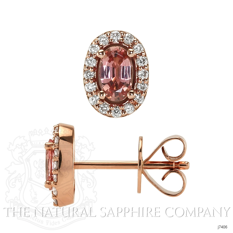 0.55ct Padparadscha Sapphire Earring Image 2