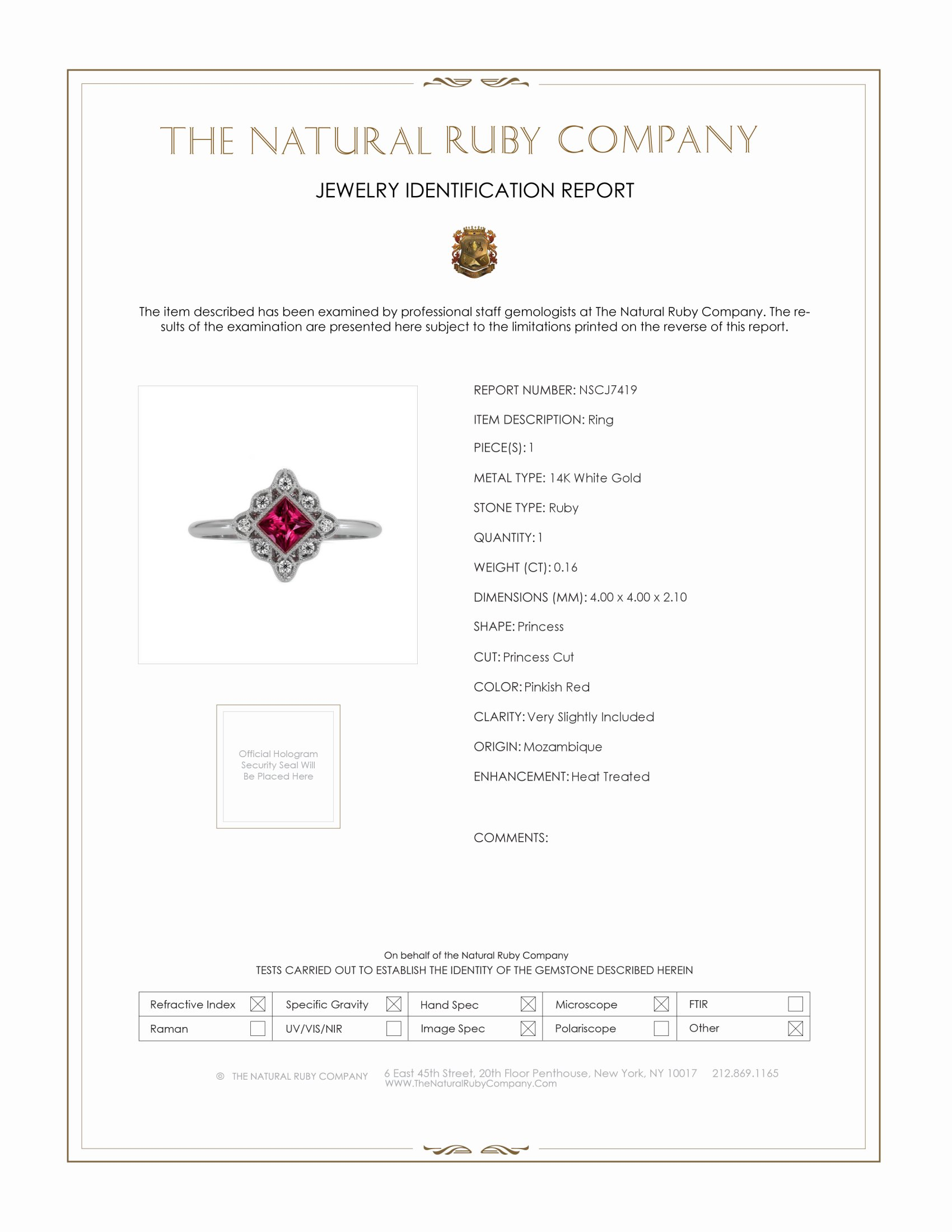 0.16ct Ruby Ring Certification