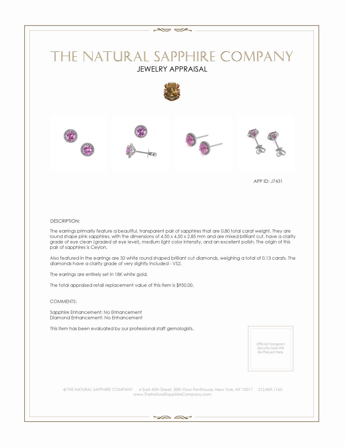0.95ct Pink Sapphire Earring Certification 2