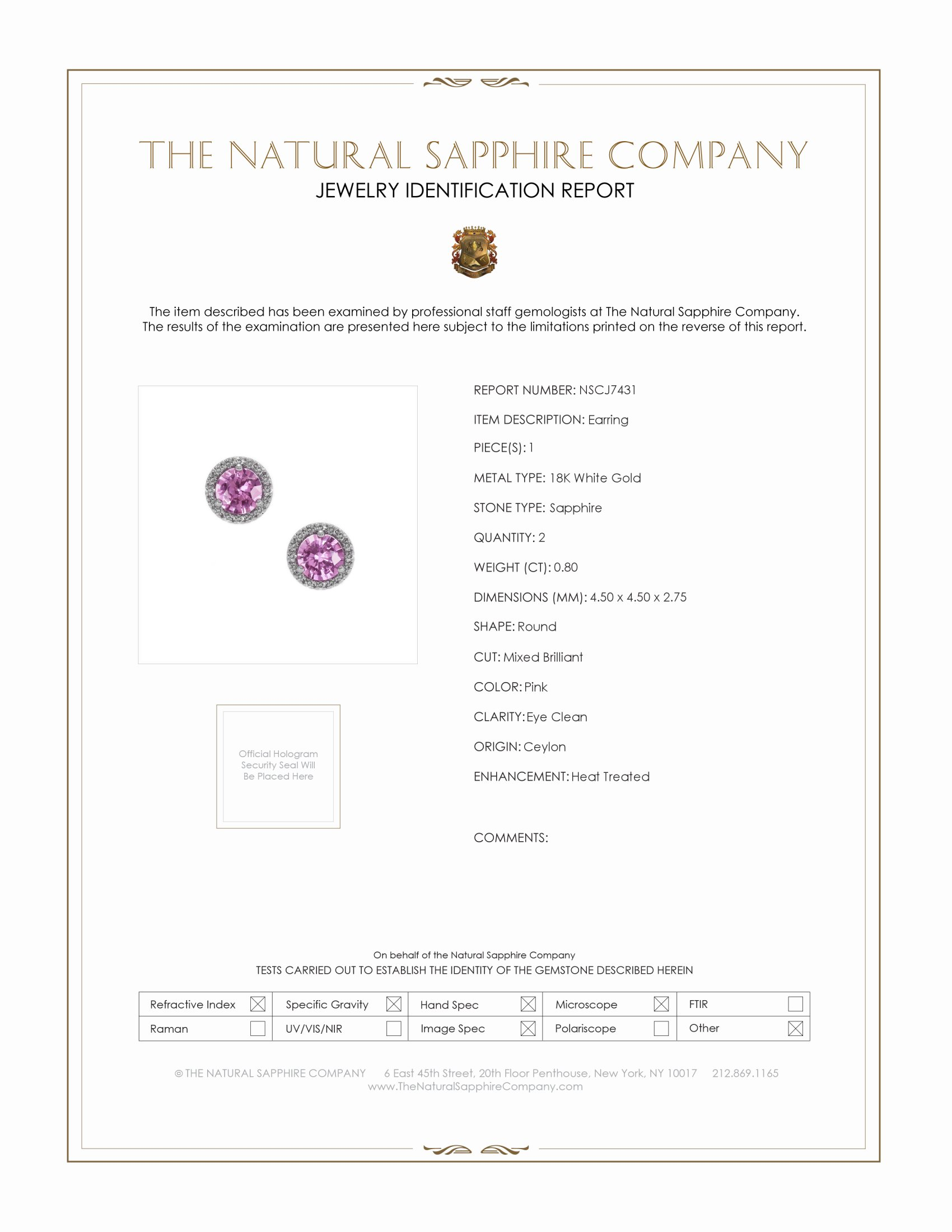 0.95ct Pink Sapphire Earring Certification
