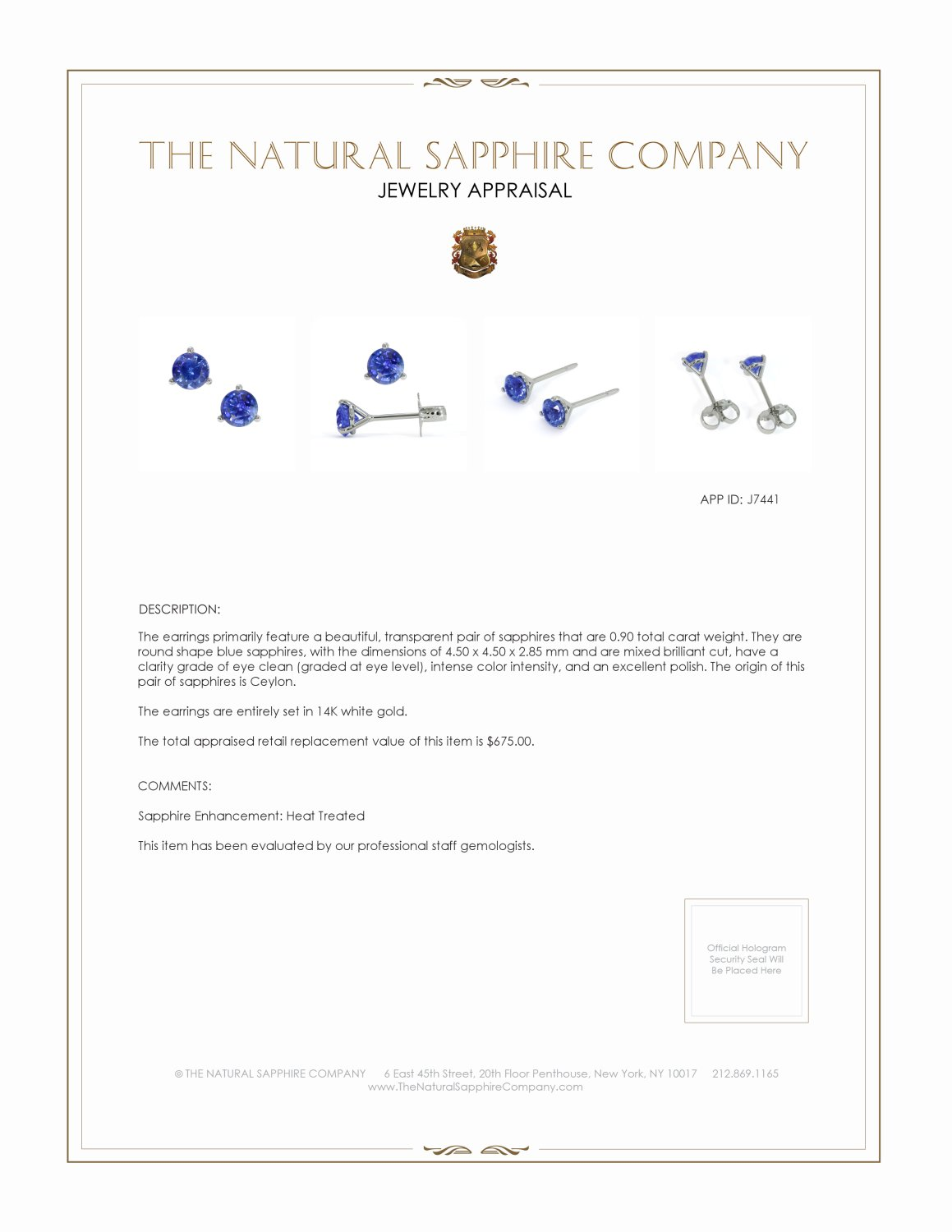 0.90ct Blue Sapphire Earring Certification 2