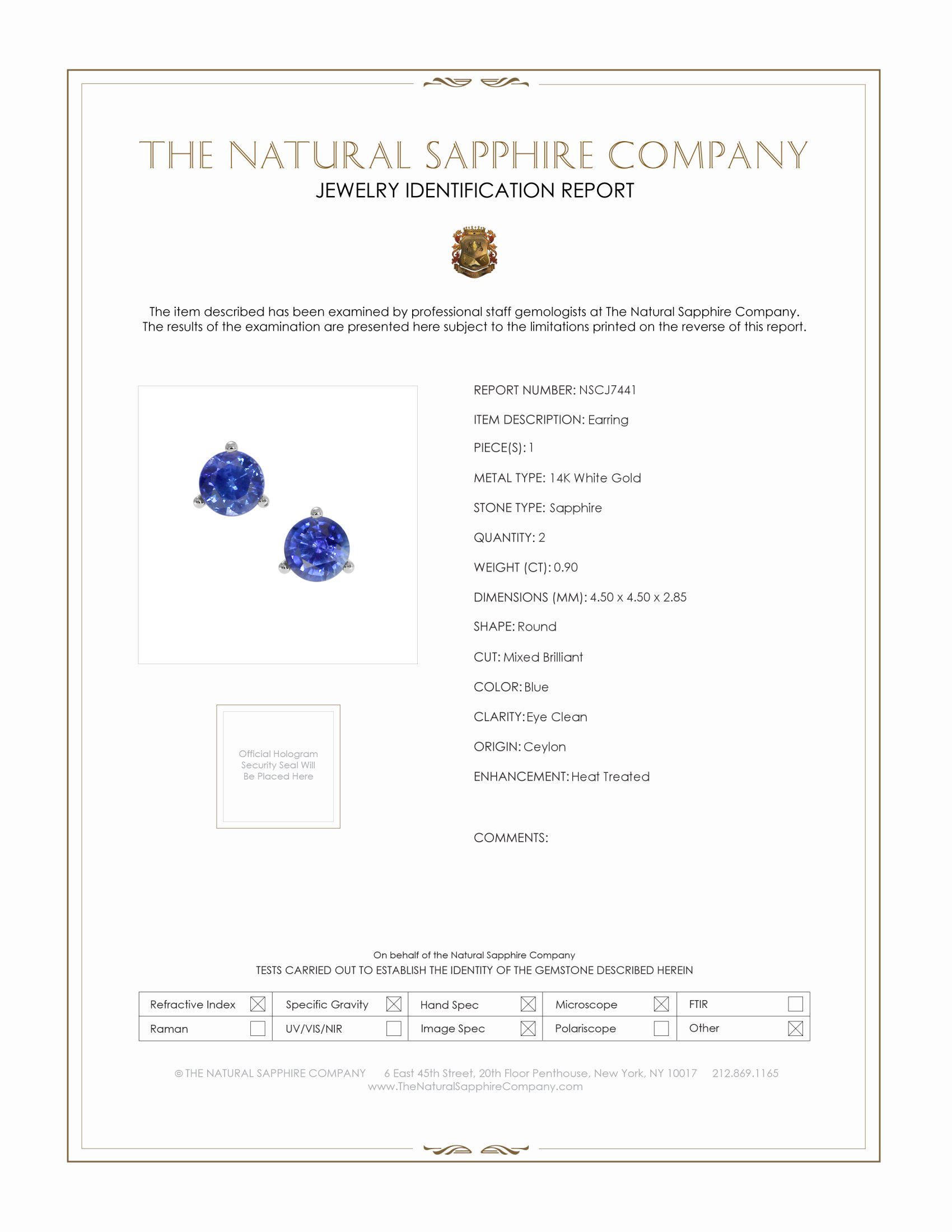 0.90ct Blue Sapphire Earring Certification