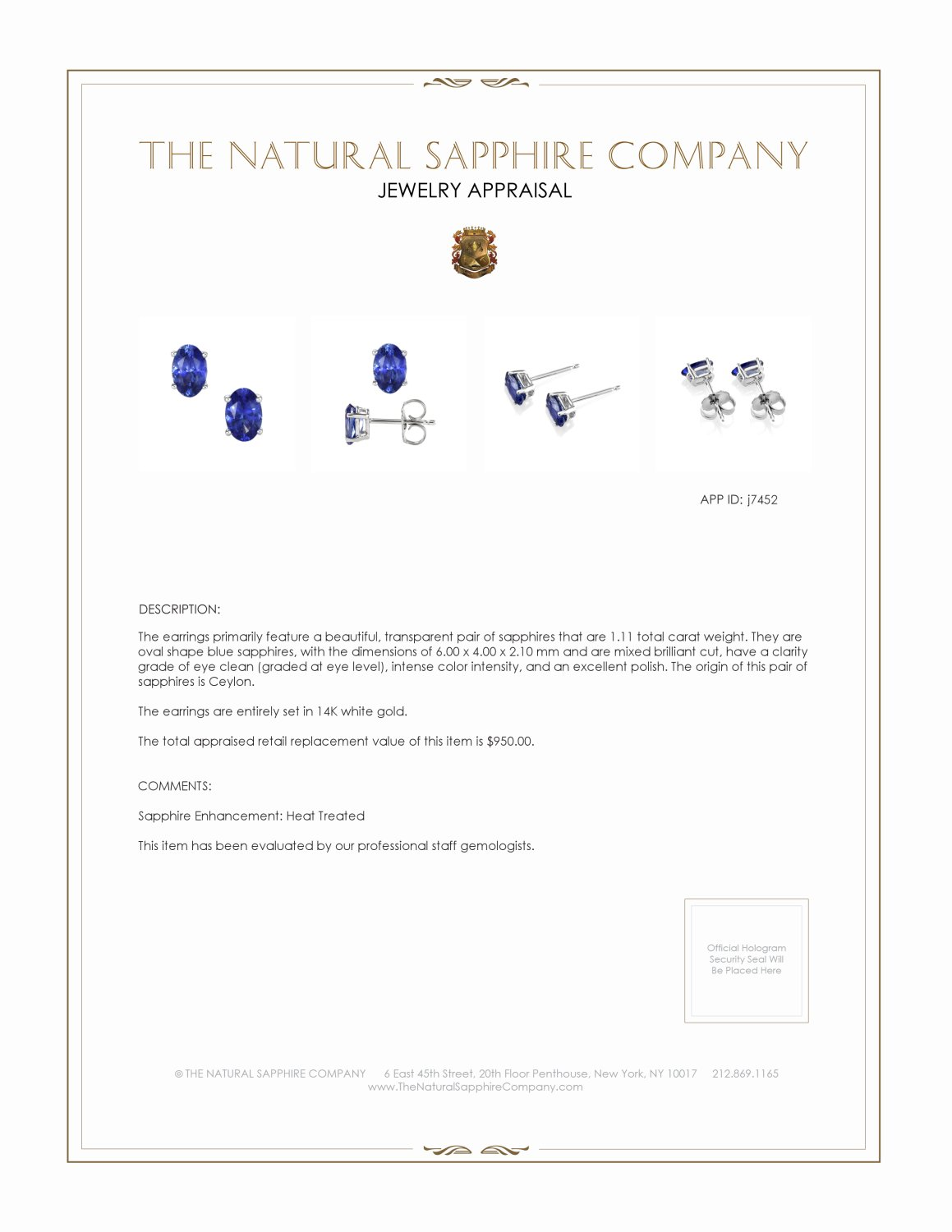 1.11ct Blue Sapphire Earring Certification 2