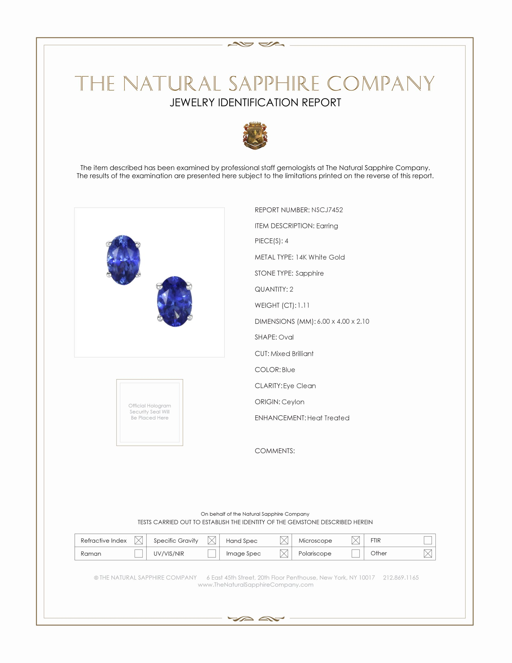 1.11ct Blue Sapphire Earring Certification
