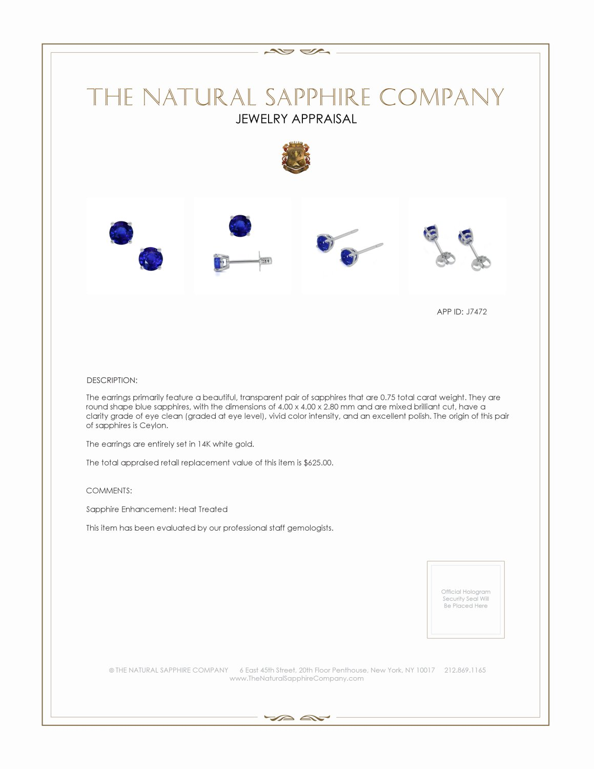 0.60ct Blue Sapphire Earring Certification