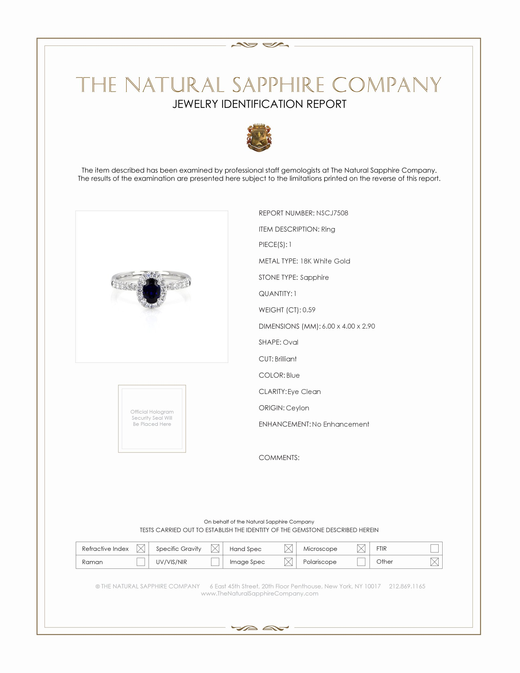 0.59ct Blue Sapphire Ring Certification