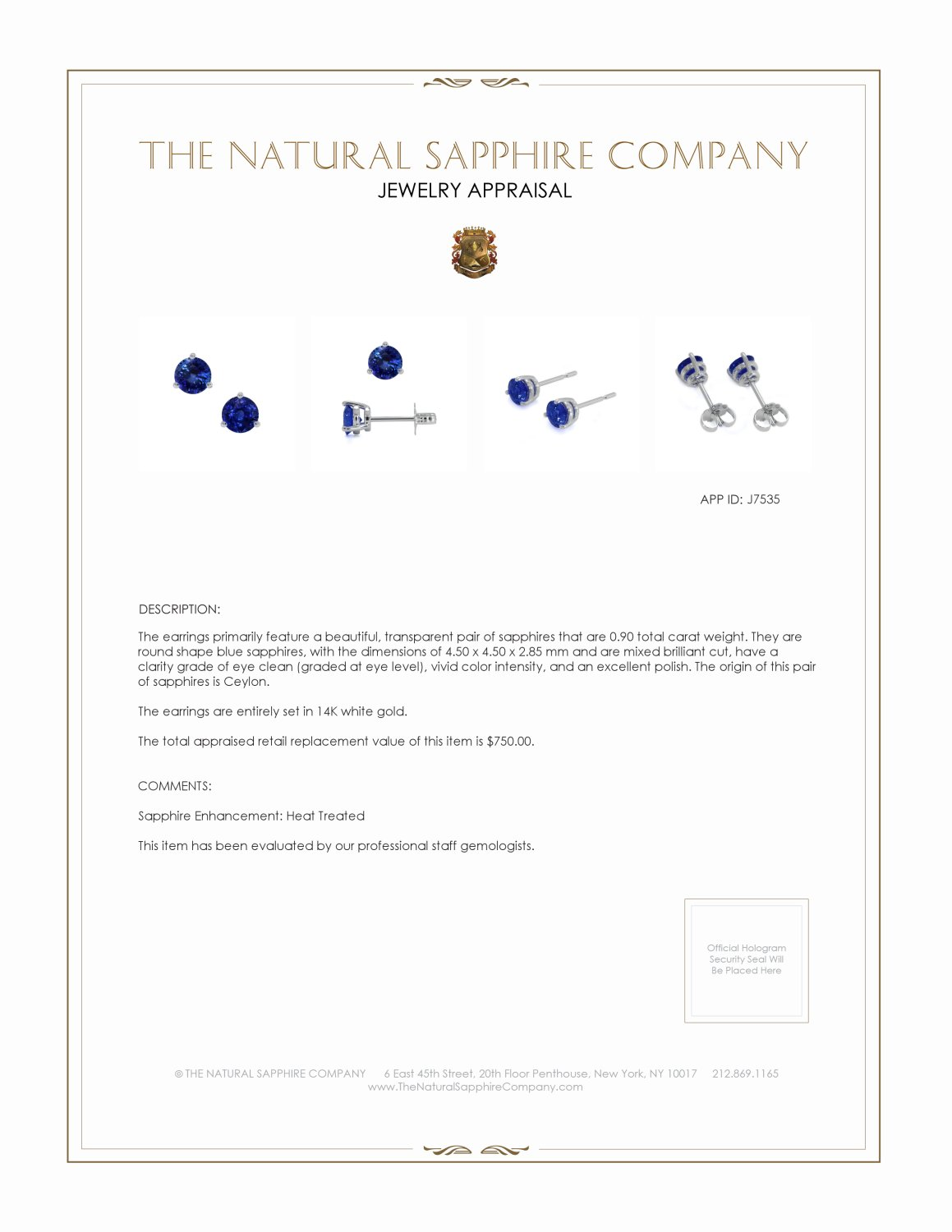 1.04ct Blue Sapphire Earring Certification 2