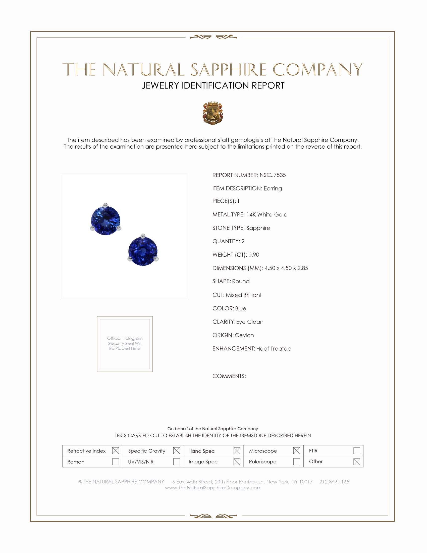 1.04ct Blue Sapphire Earring Certification