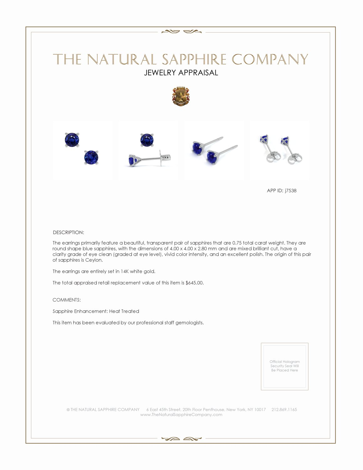 0.80ct Blue Sapphire Earring Certification 2