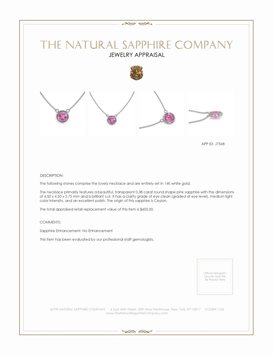 0.38ct Pink Sapphire Necklace Certification 2