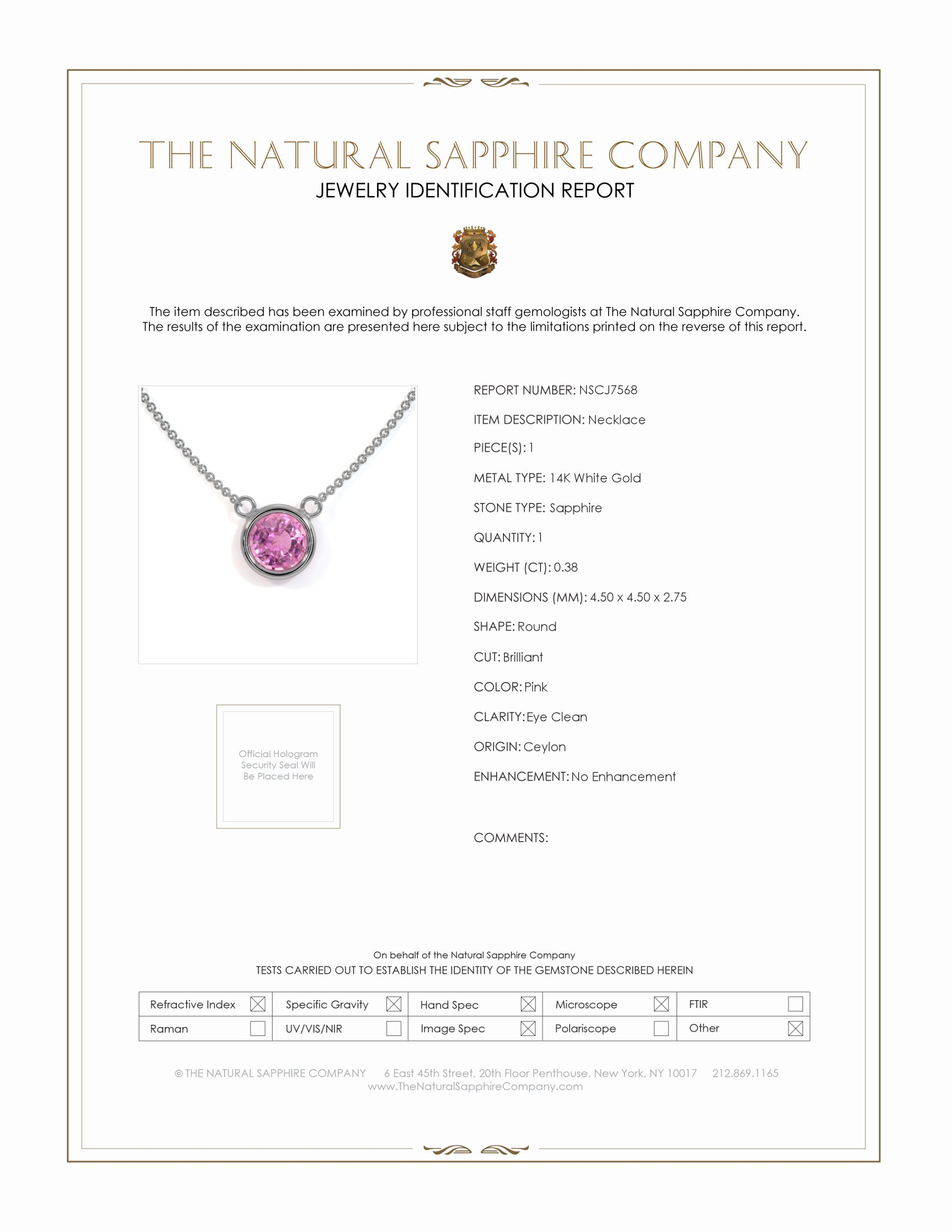 0.38ct Pink Sapphire Necklace Certification
