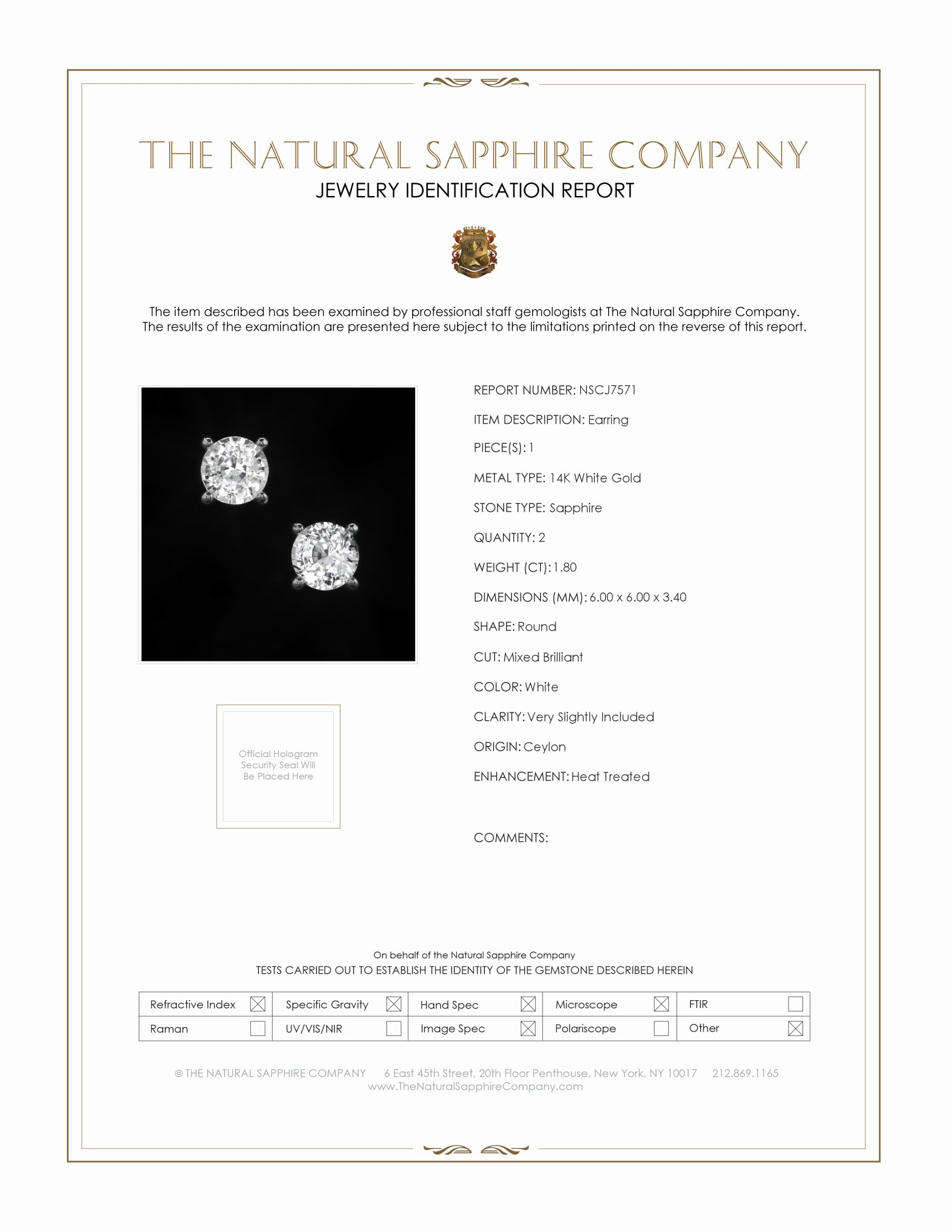 1.46ct White Sapphire Earring Certification