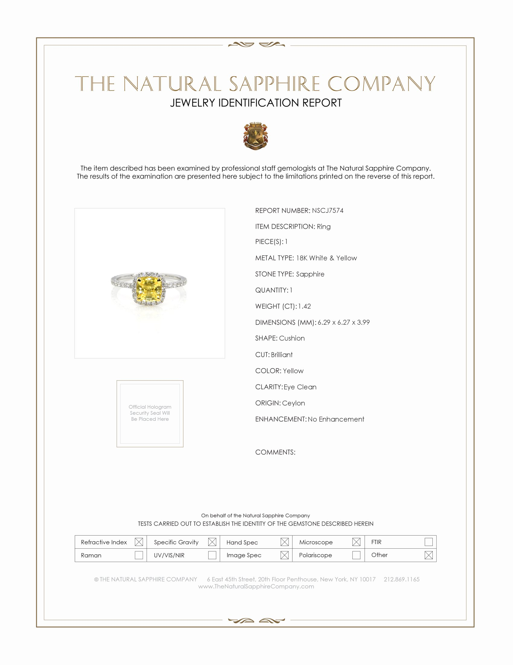 1.42ct Yellow Sapphire Ring Certification