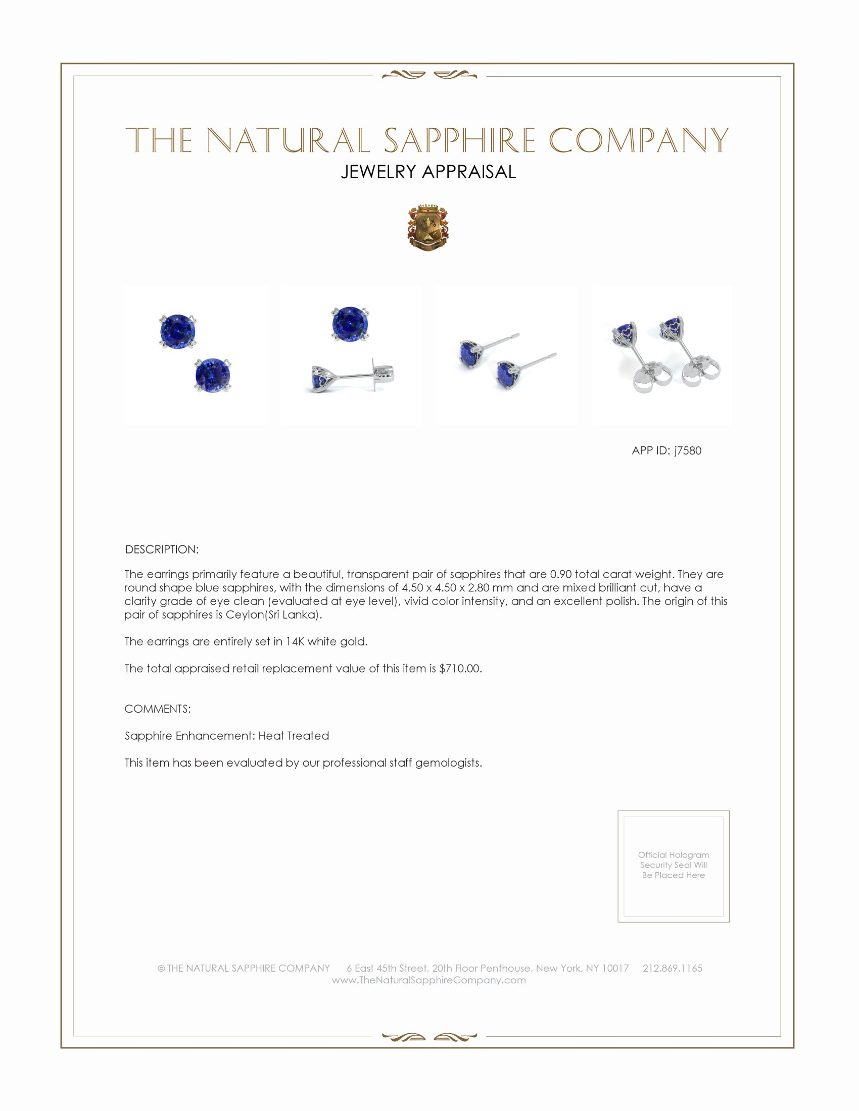 0.93ct Blue Sapphire Earring Certification 2