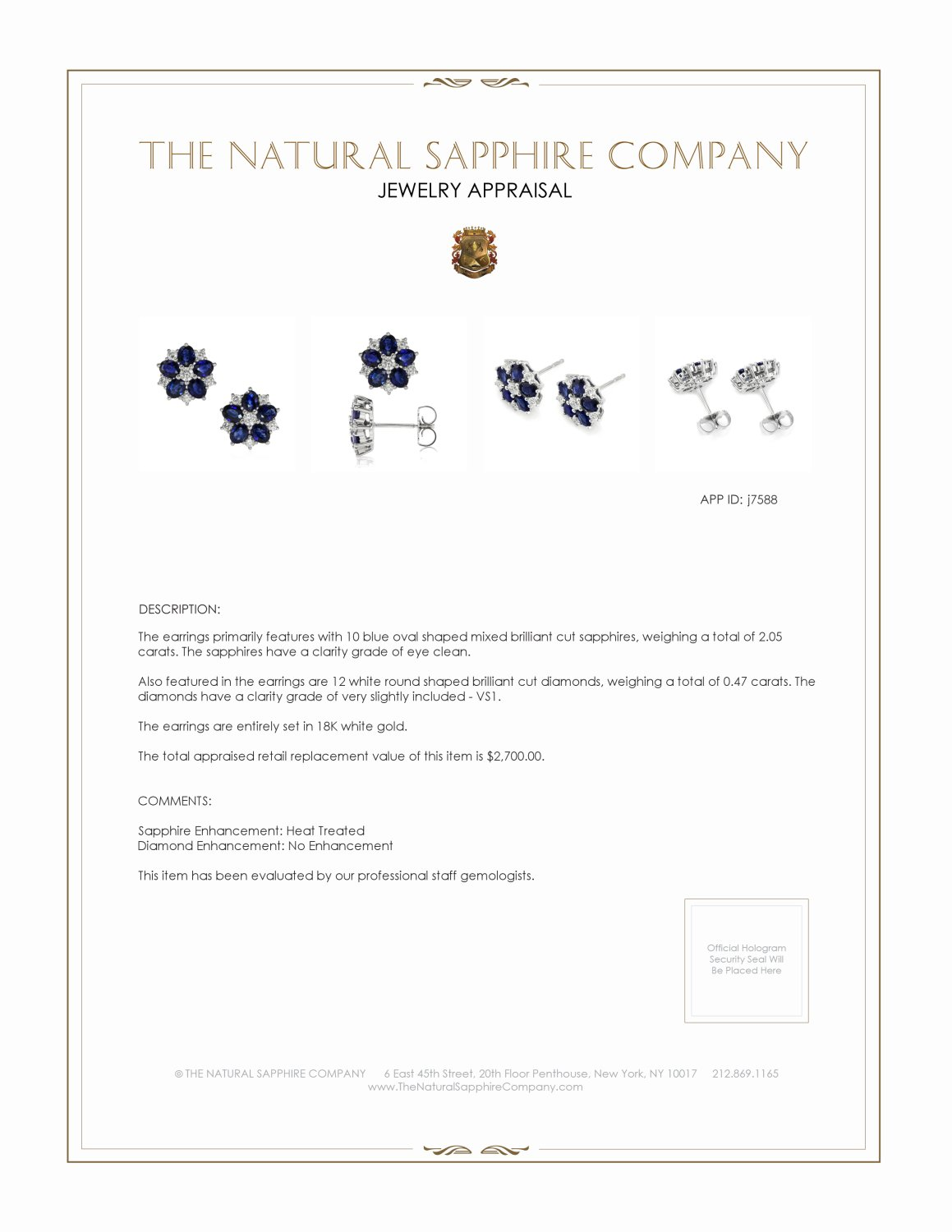 2.05ct Blue Sapphire Earring Certification