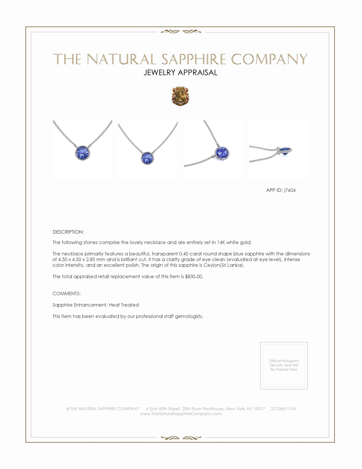 0.40ct Blue Sapphire Necklace Certification 2