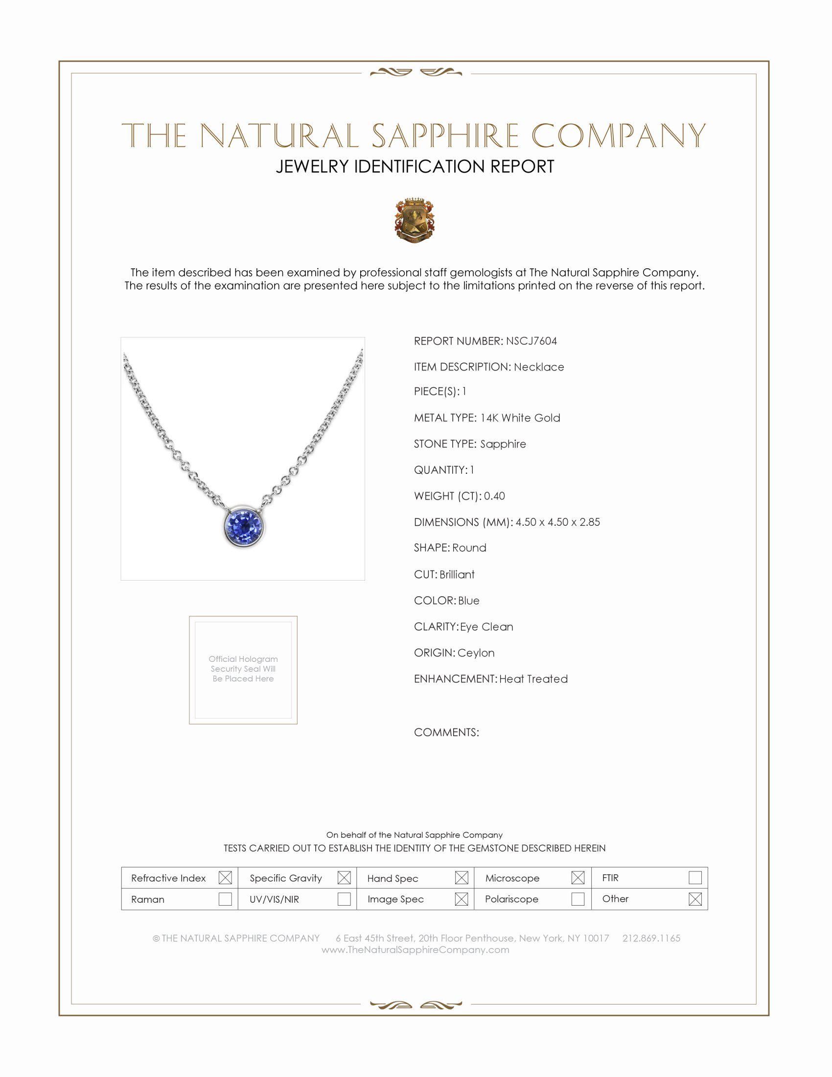 0.40ct Blue Sapphire Necklace Certification