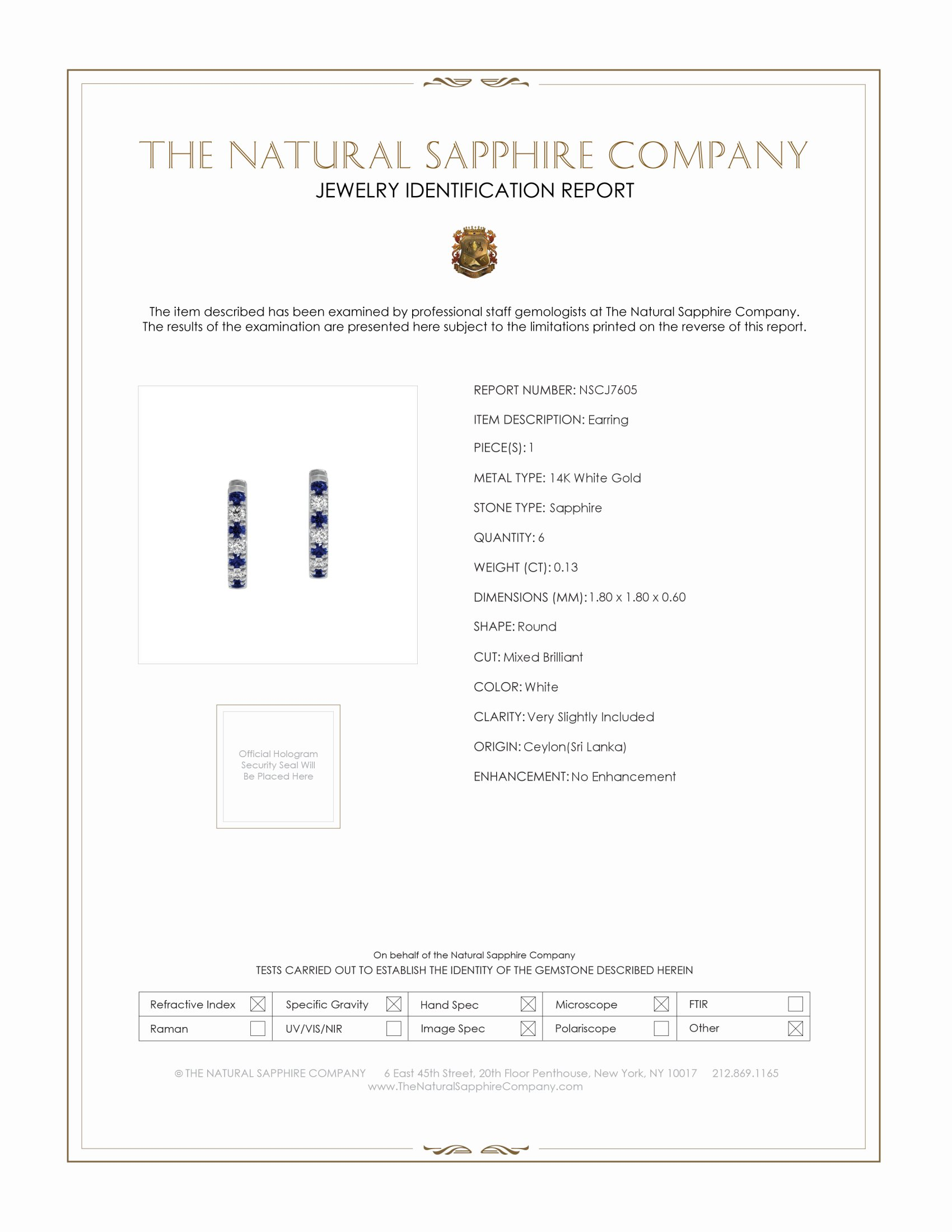 0.20ct Blue Sapphire Earring Certification