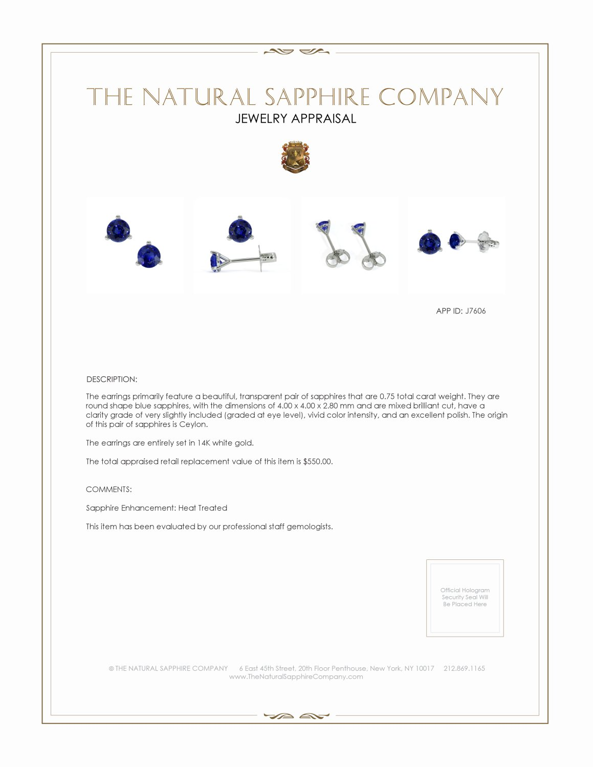 0.54ct Blue Sapphire Earring Certification 2