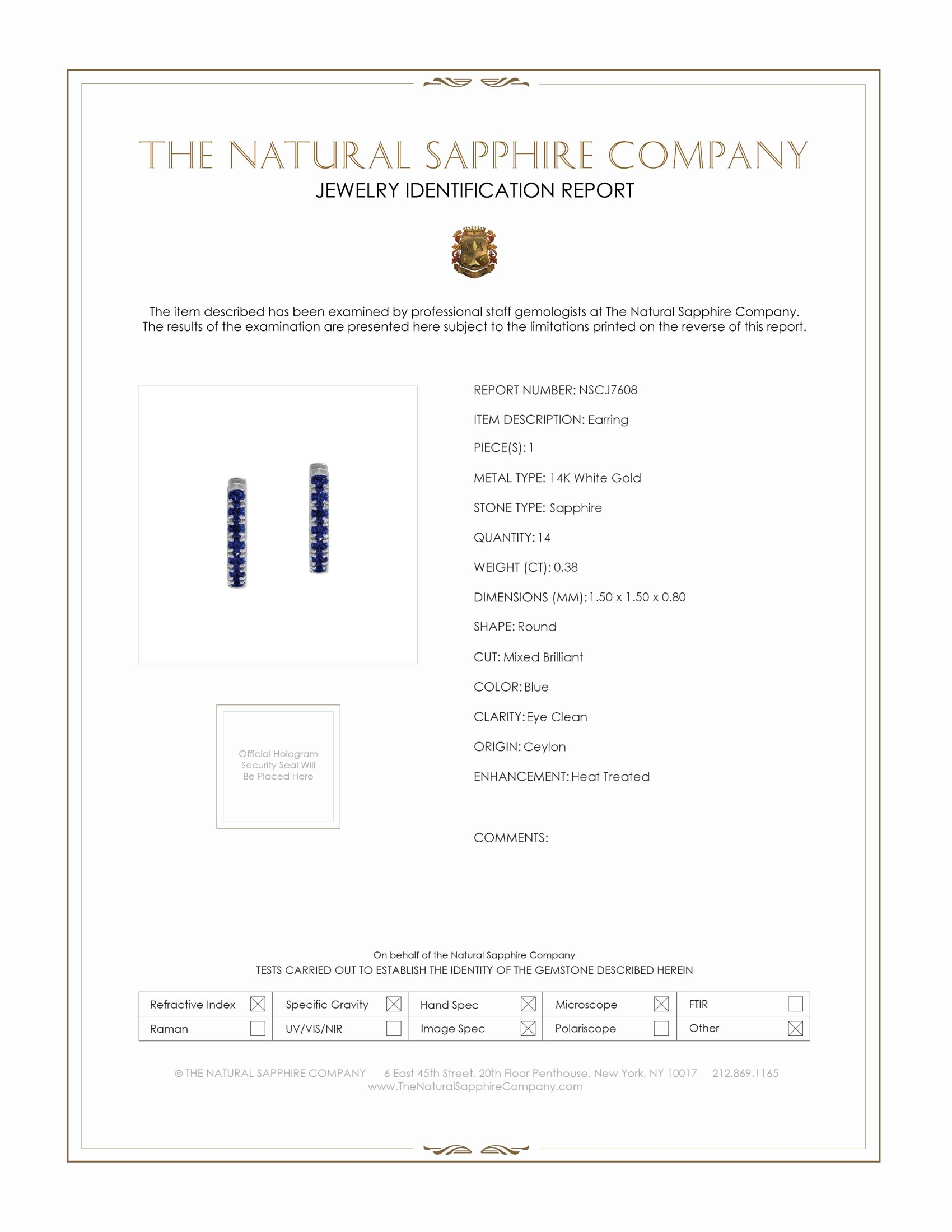0.38ct Blue Sapphire Earring Certification