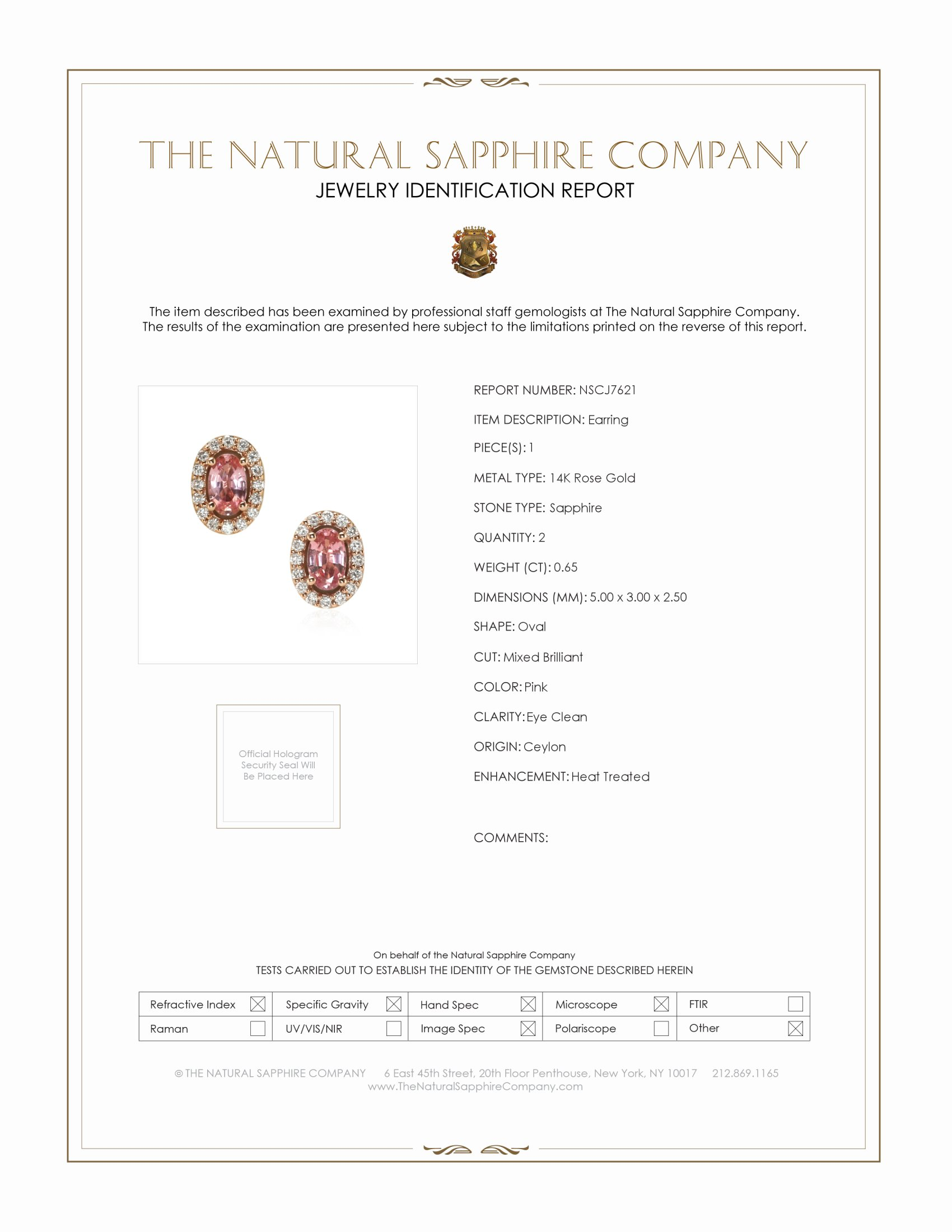 0.65ct Pink Sapphire Earring Certification