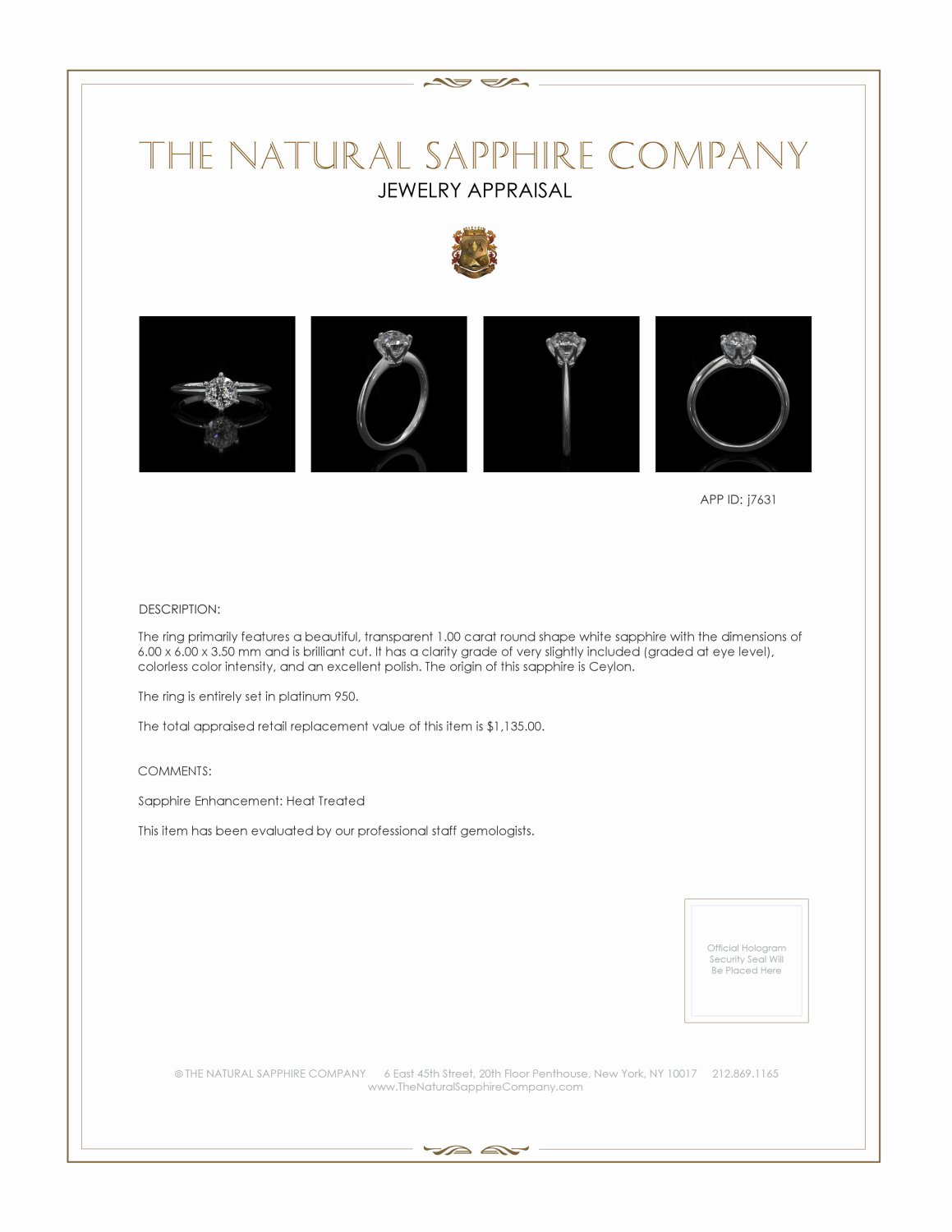 1.00ct White Sapphire Ring Certification 2