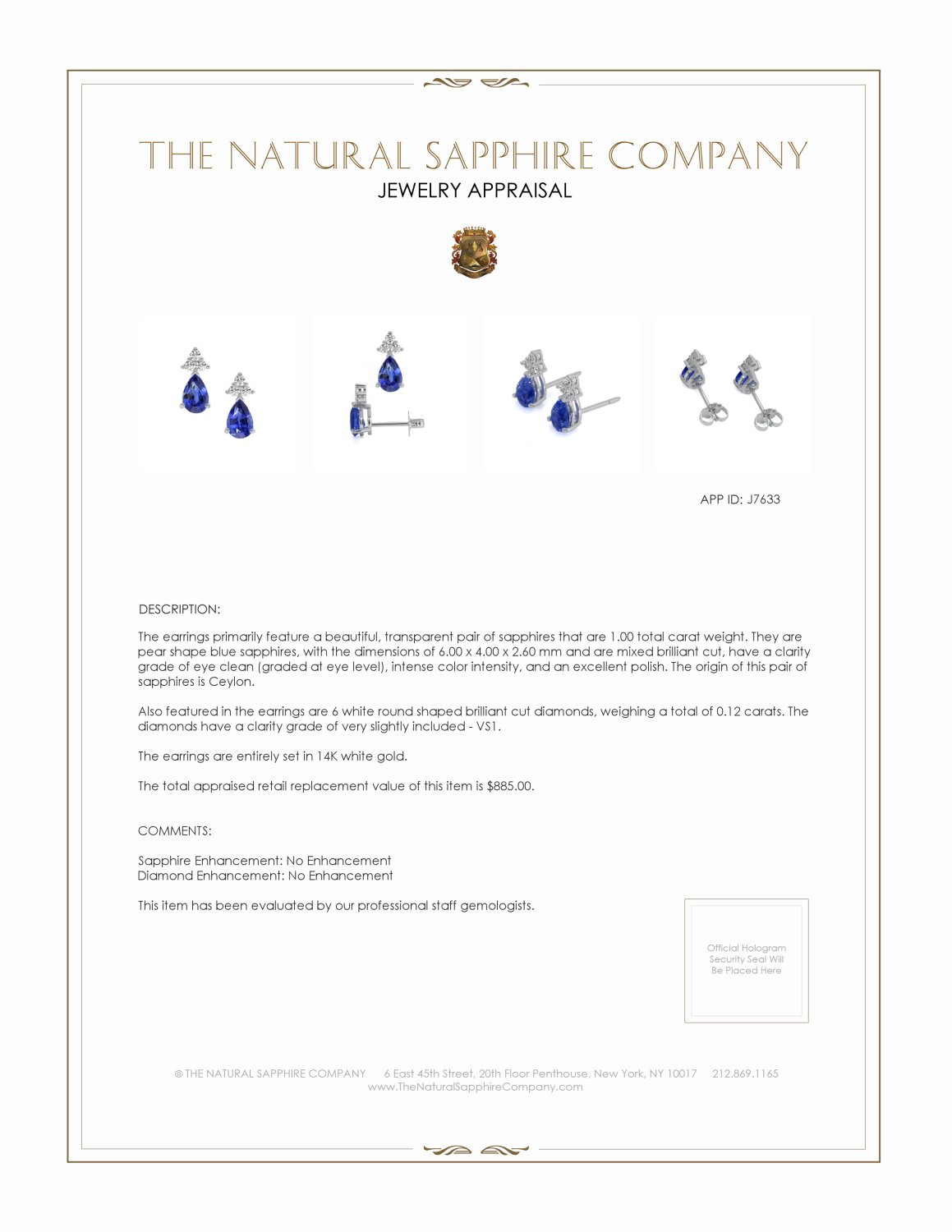 1.15ct Blue Sapphire Earring Certification 2