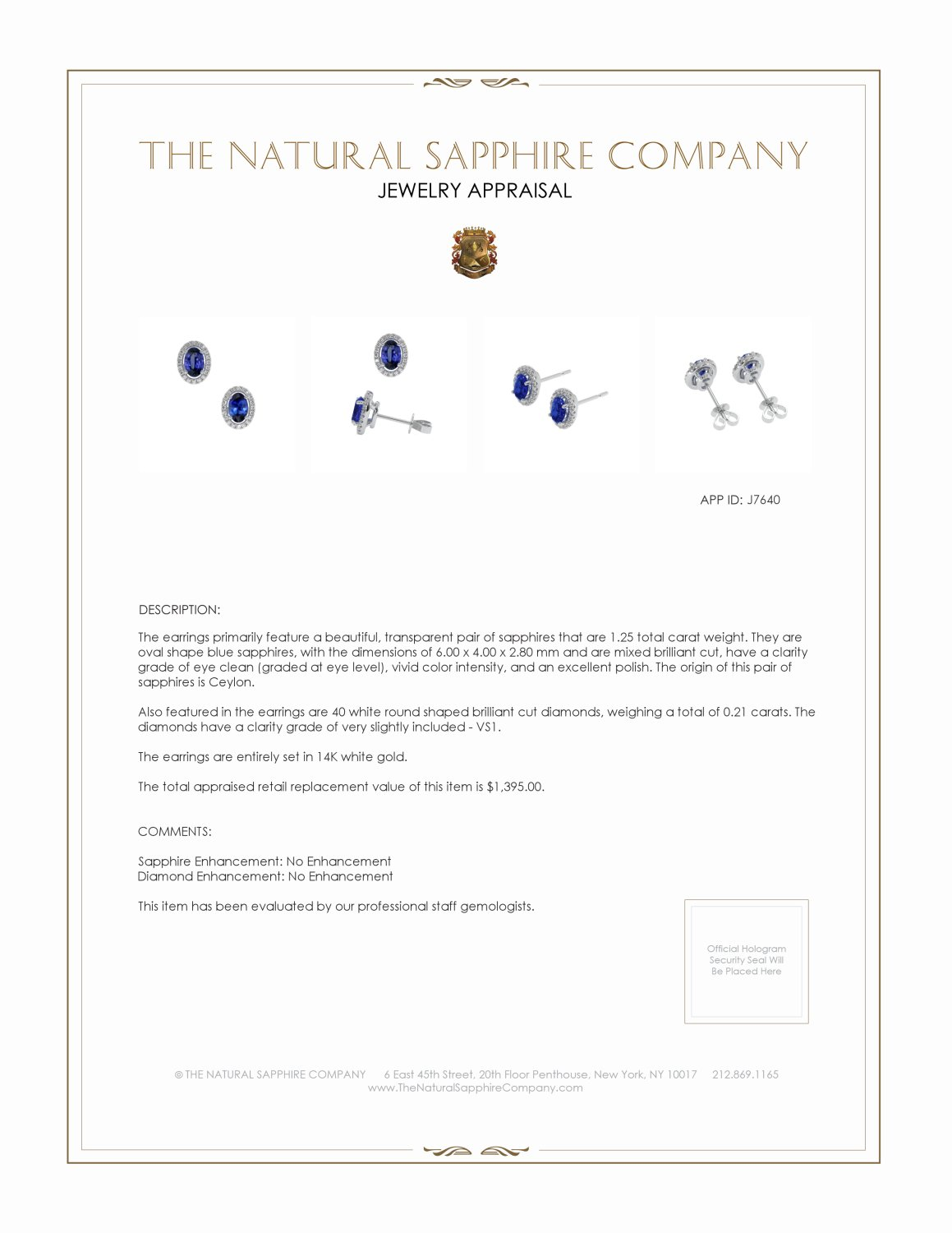 1.00ct Blue Sapphire Earring Certification 2