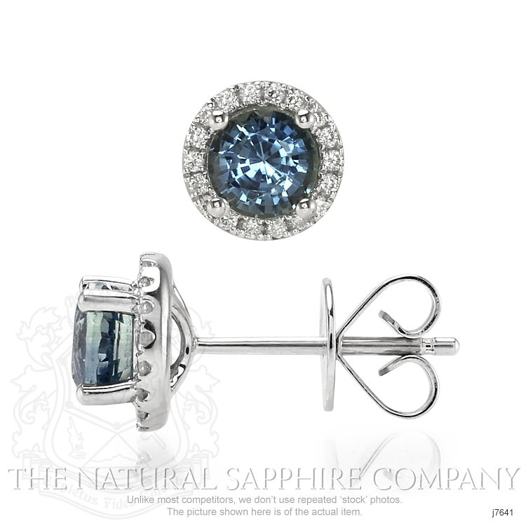 1.38ct Bluish Green Sapphire Earring Image 2
