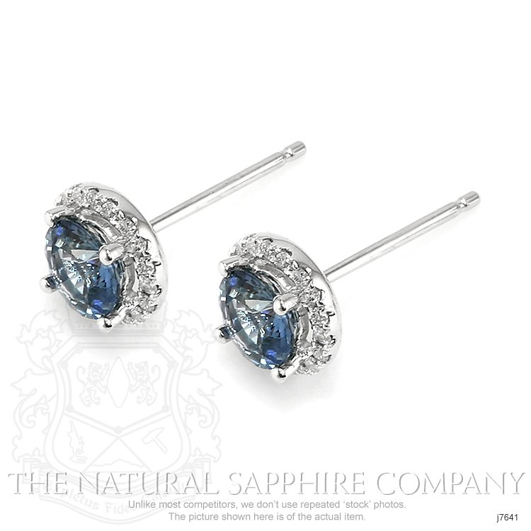 1.38ct Bluish Green Sapphire Earring Image 3