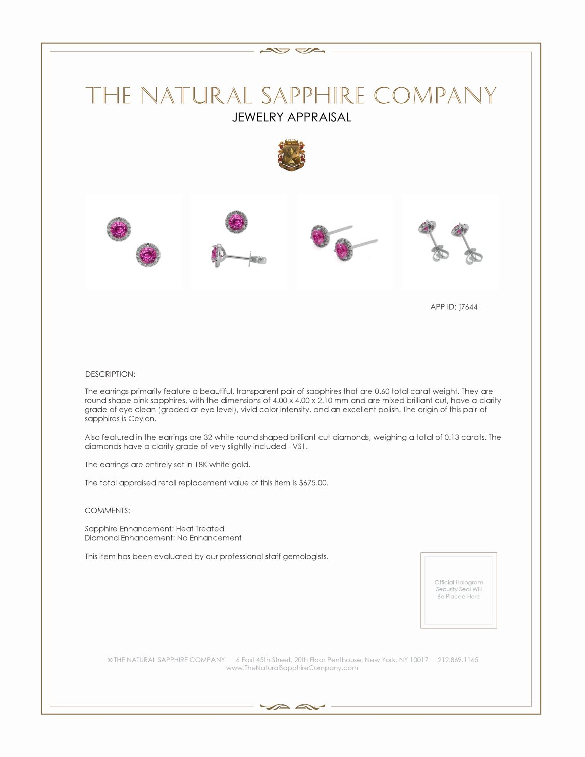 0.60ct Pink Sapphire Earring Certification 2