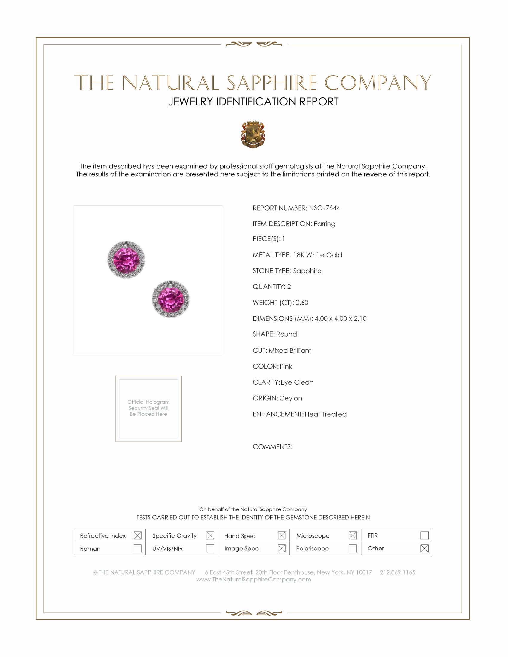 0.60ct Pink Sapphire Earring Certification