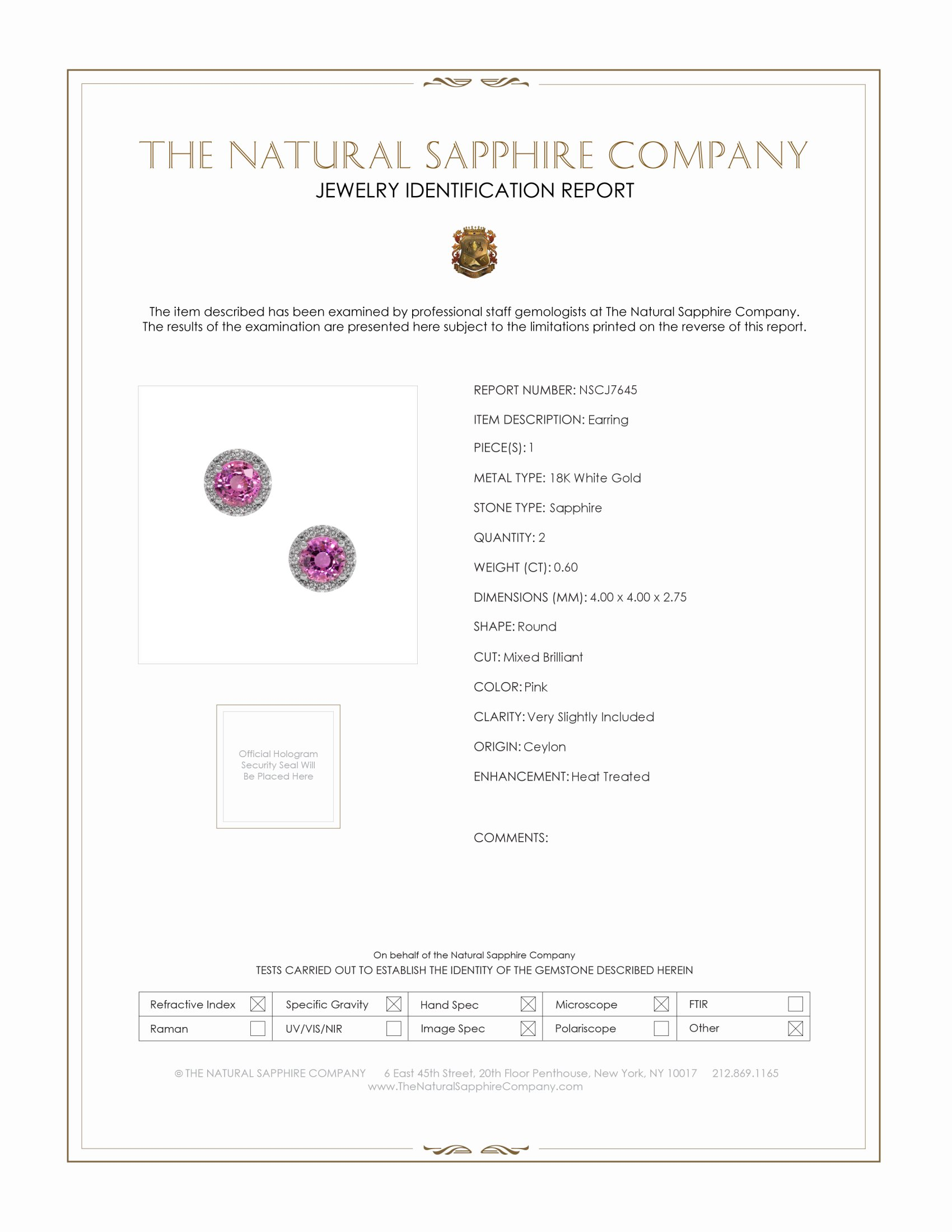 0.69ct Pink Sapphire Earring Certification