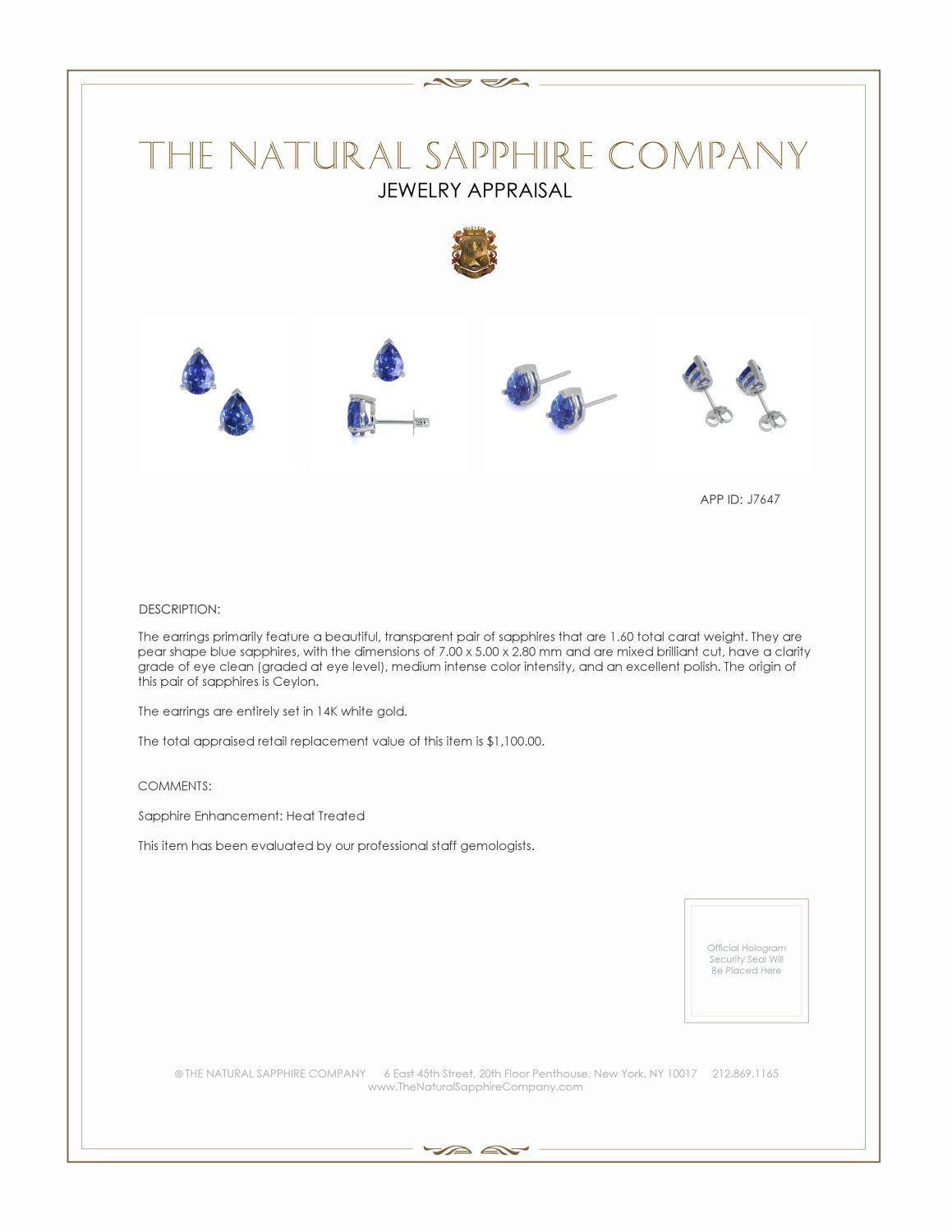 1.43ct Blue Sapphire Earring Certification 2