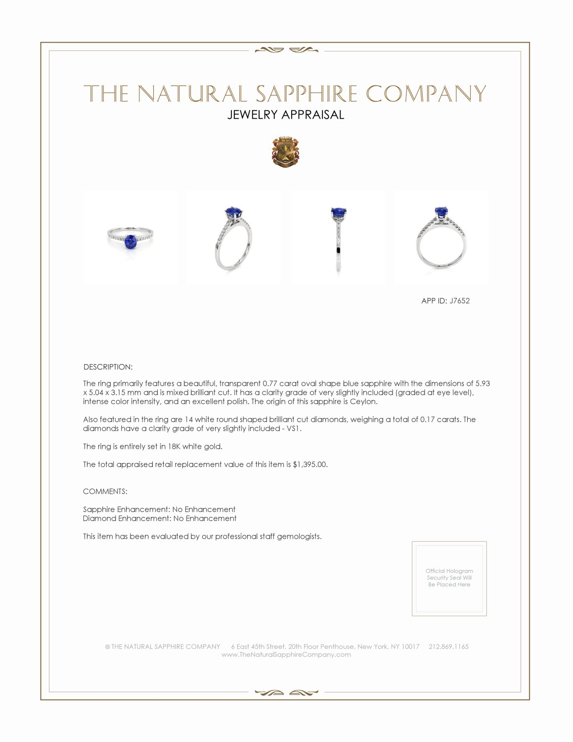 0.77ct Blue Sapphire Ring Certification