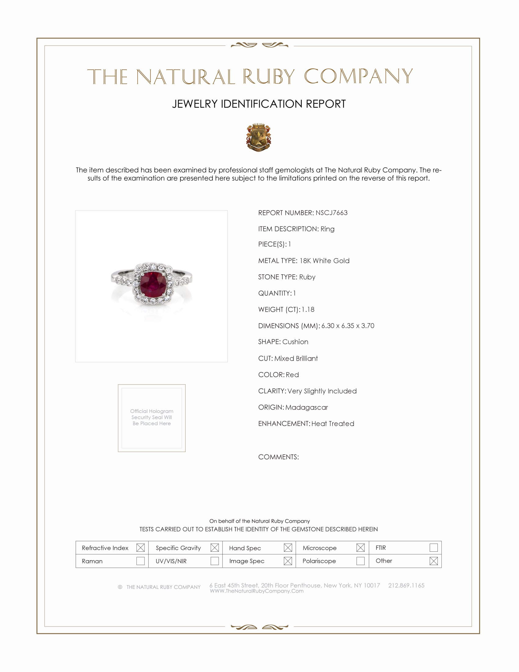 1.18ct Ruby Ring Certification