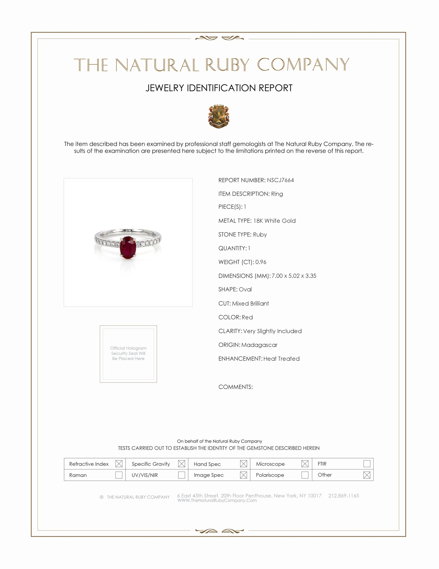 0.96ct Ruby Ring Certification