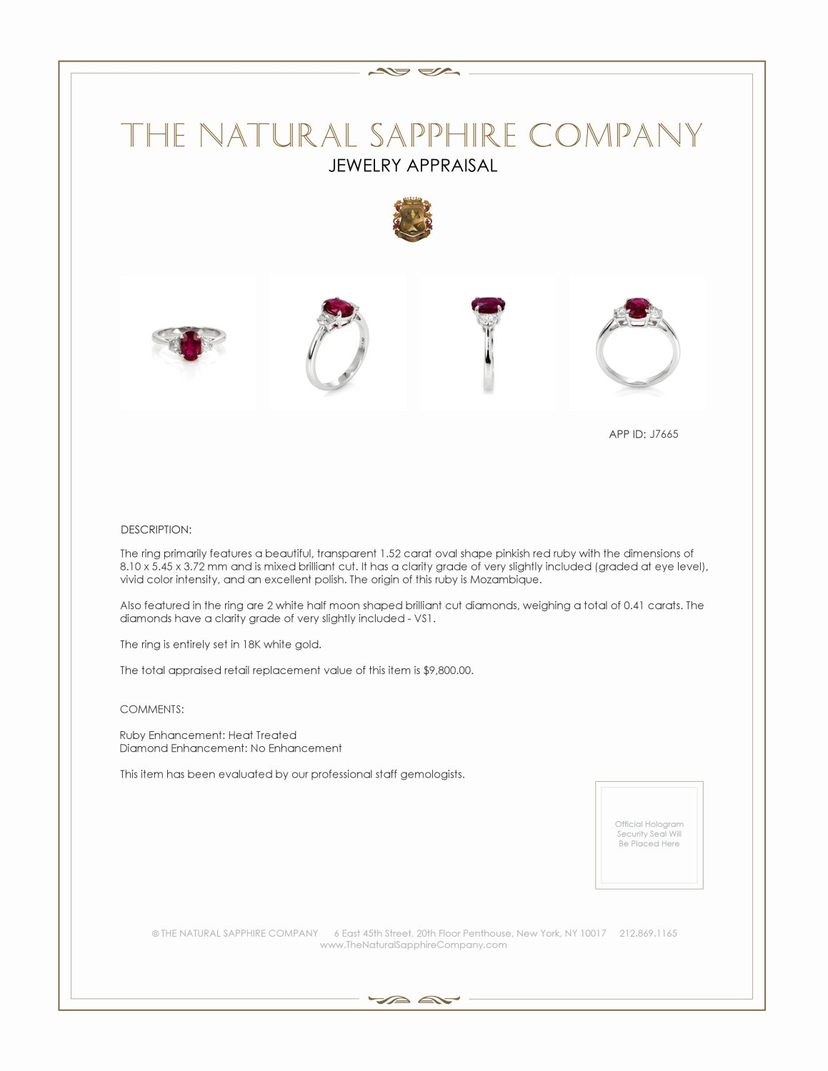 1.52ct Ruby Ring Certification 2