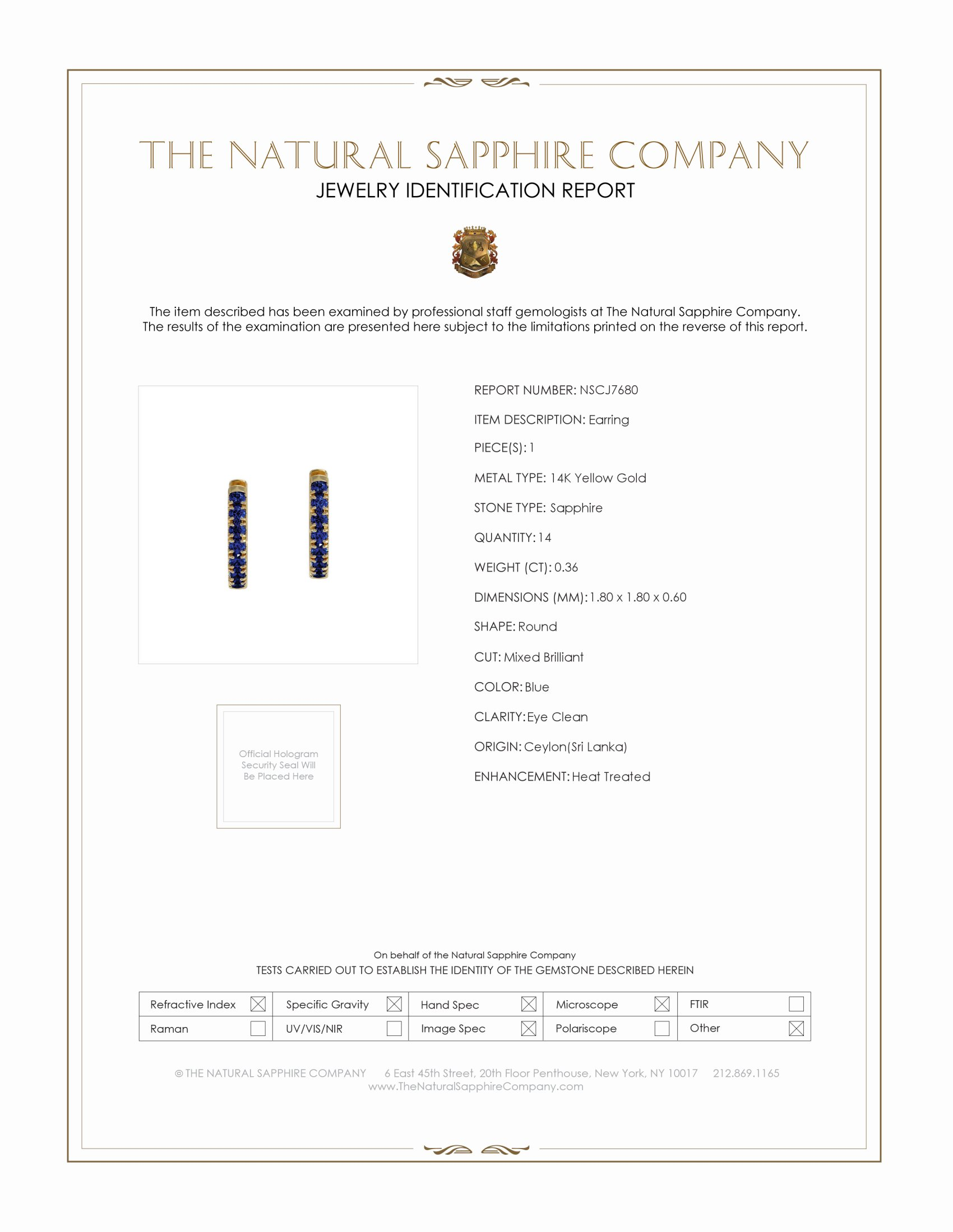 0.36ct Blue Sapphire Earring Certification