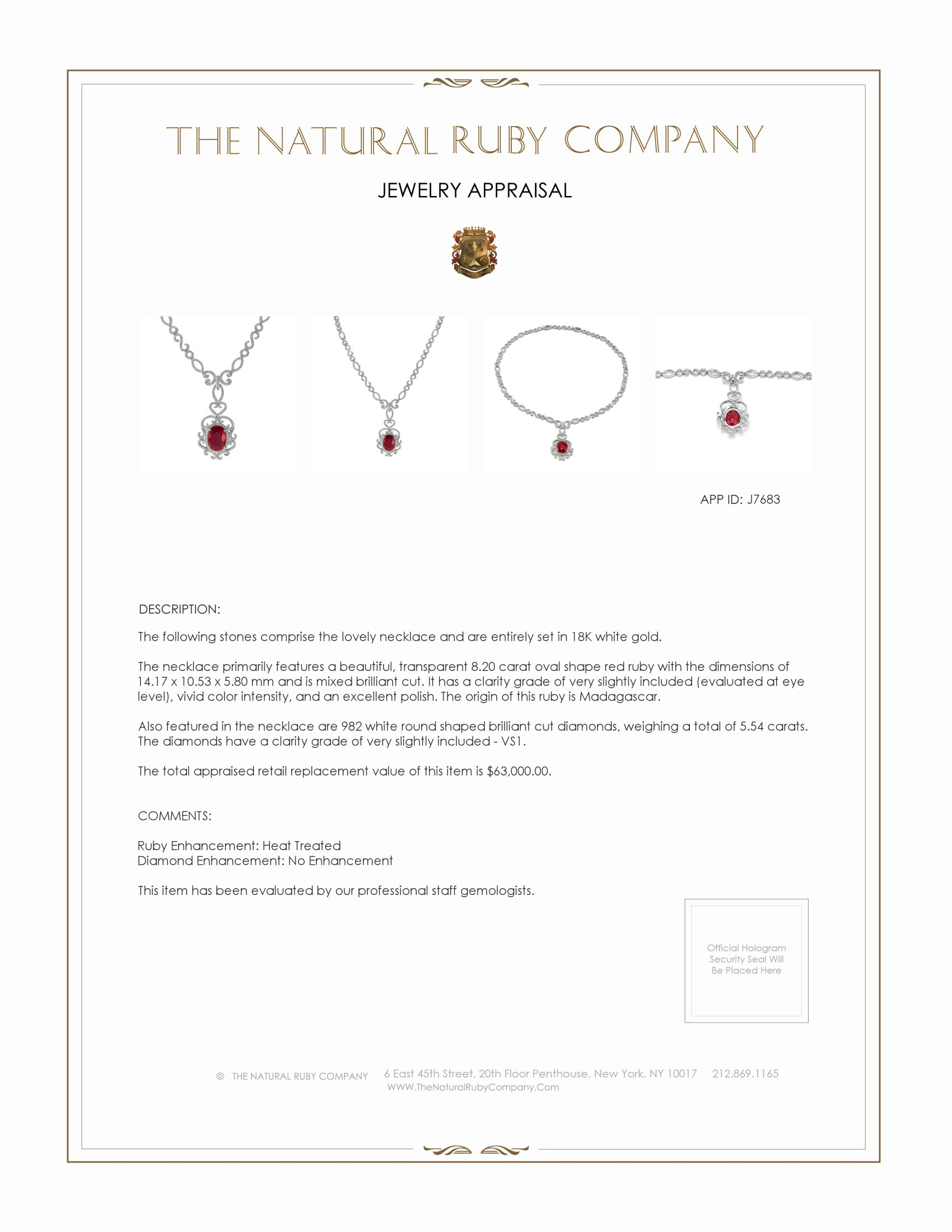 8.20ct Ruby Necklace Certification 2