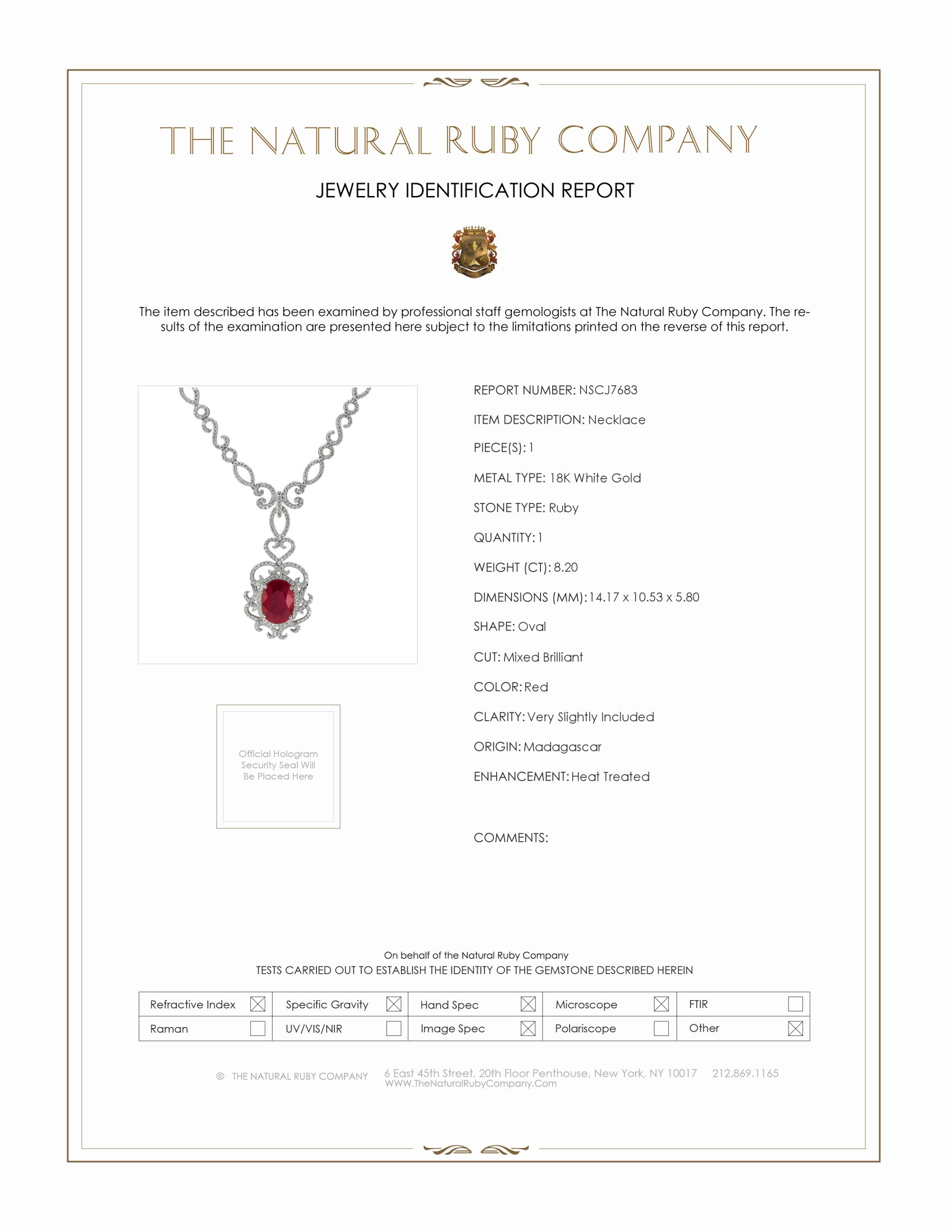 8.20ct Ruby Necklace Certification