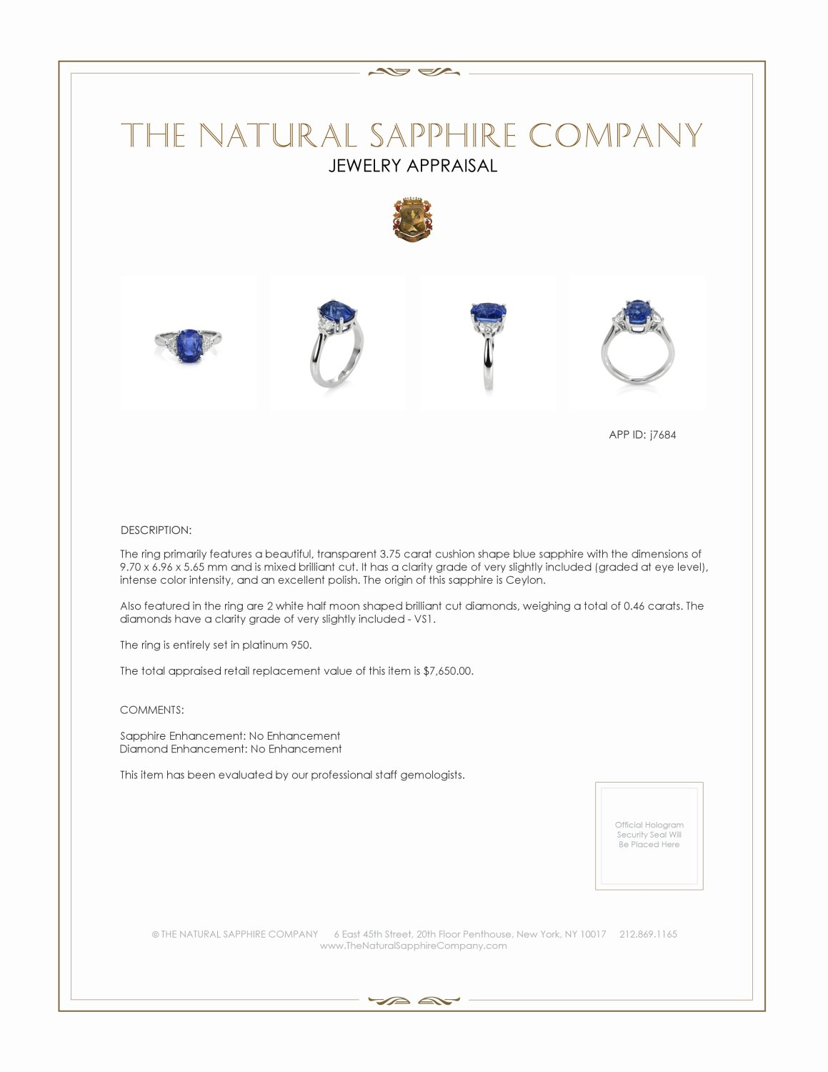 3.75ct Blue Sapphire Ring Certification 2