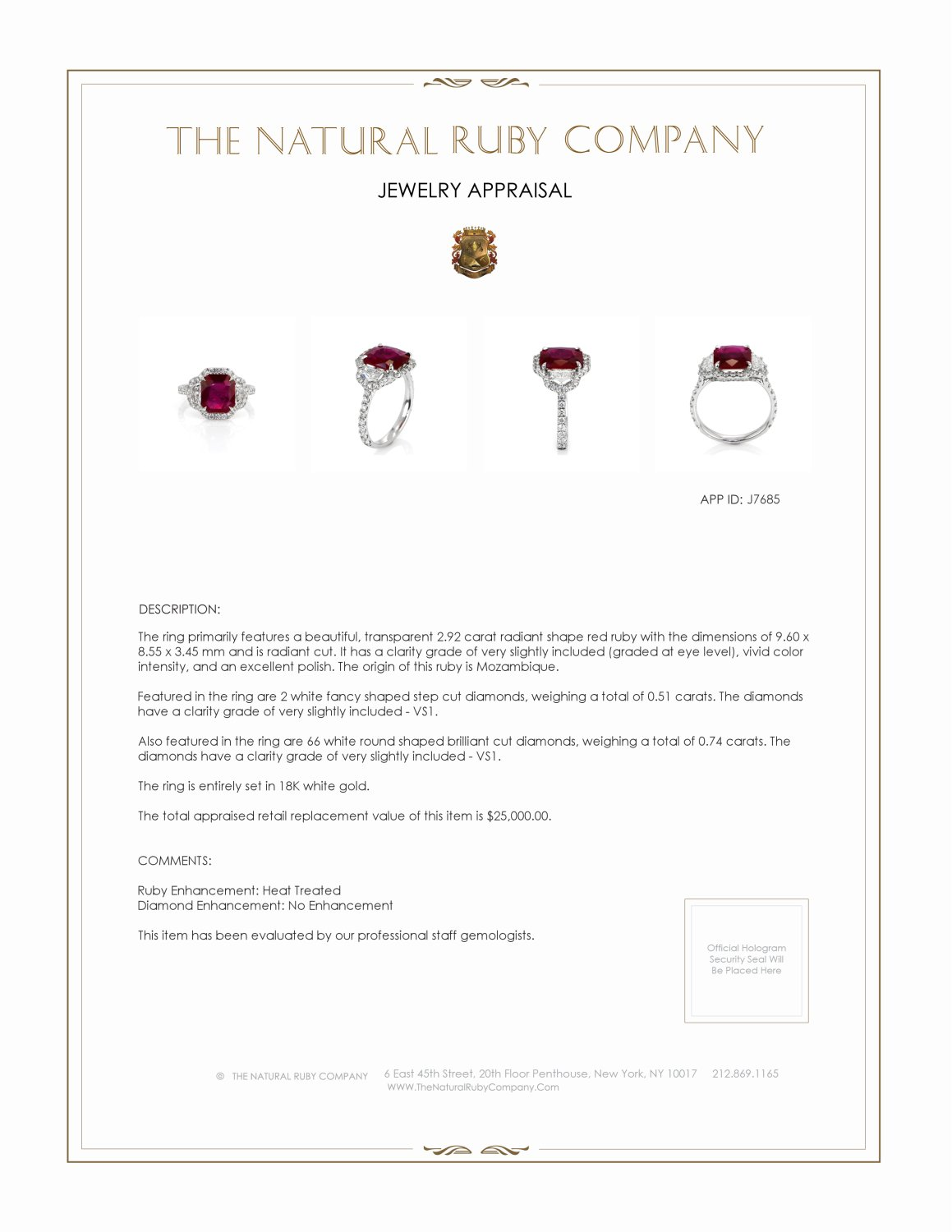 2.92ct Ruby Ring Certification 2