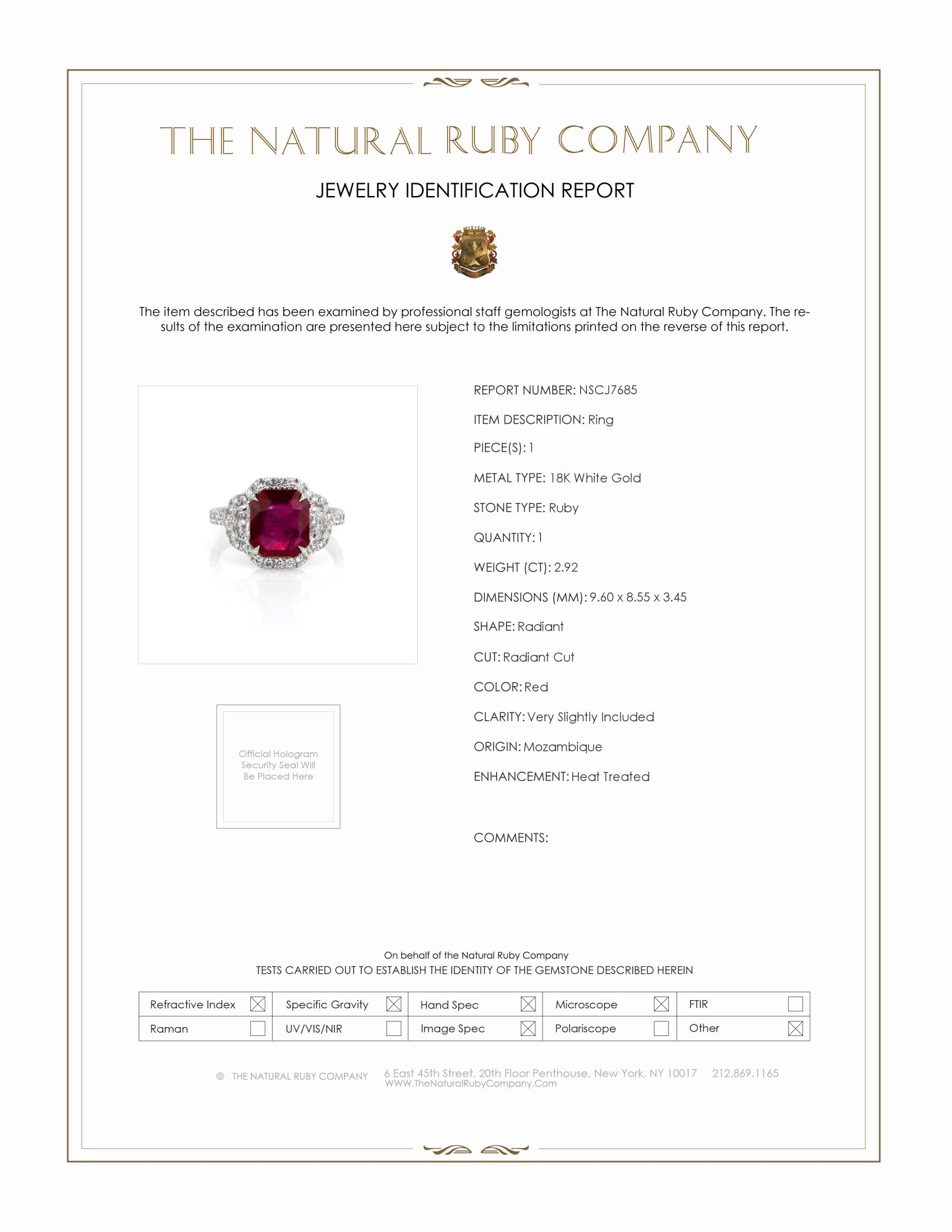 2.92ct Ruby Ring Certification