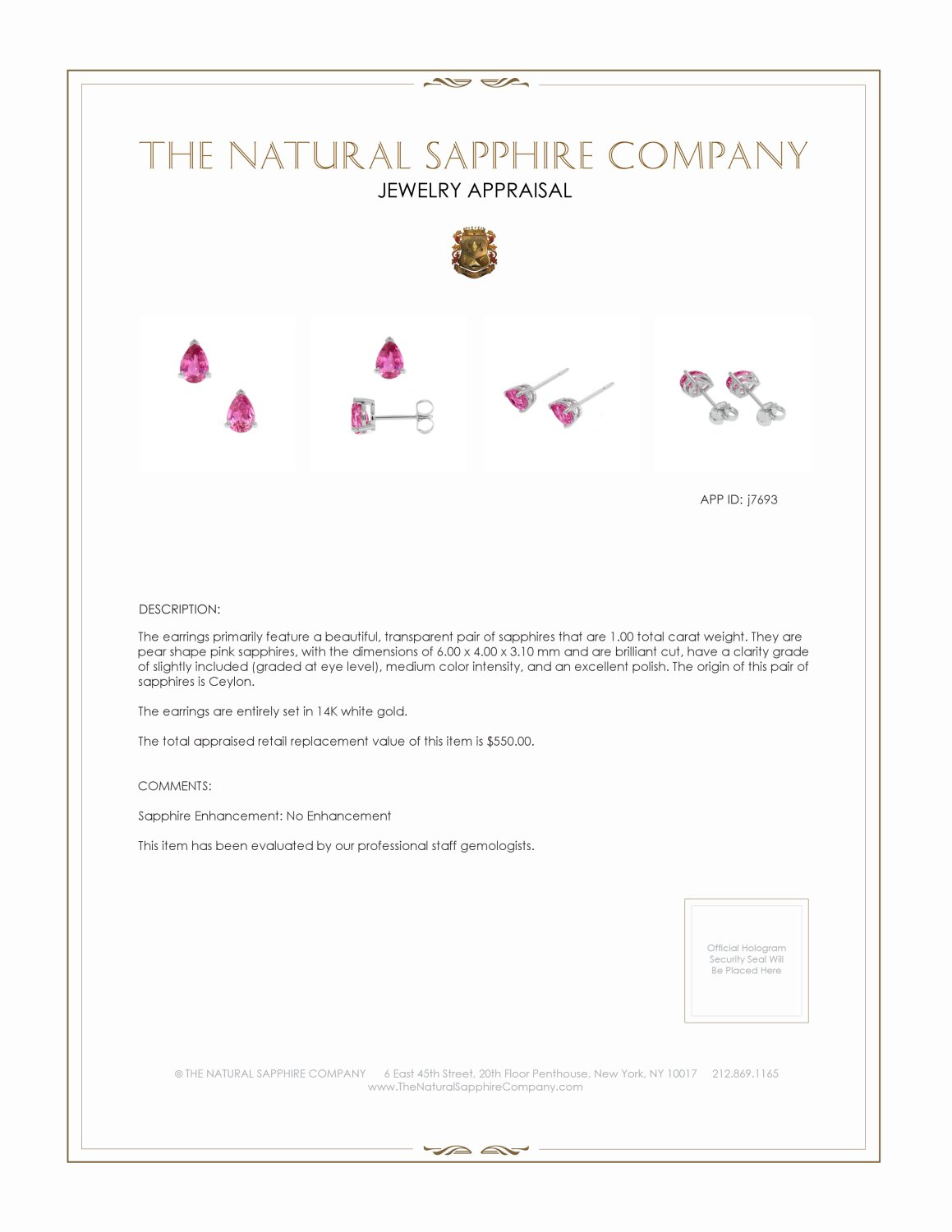 0.75ct Pink Sapphire Earring Certification 2