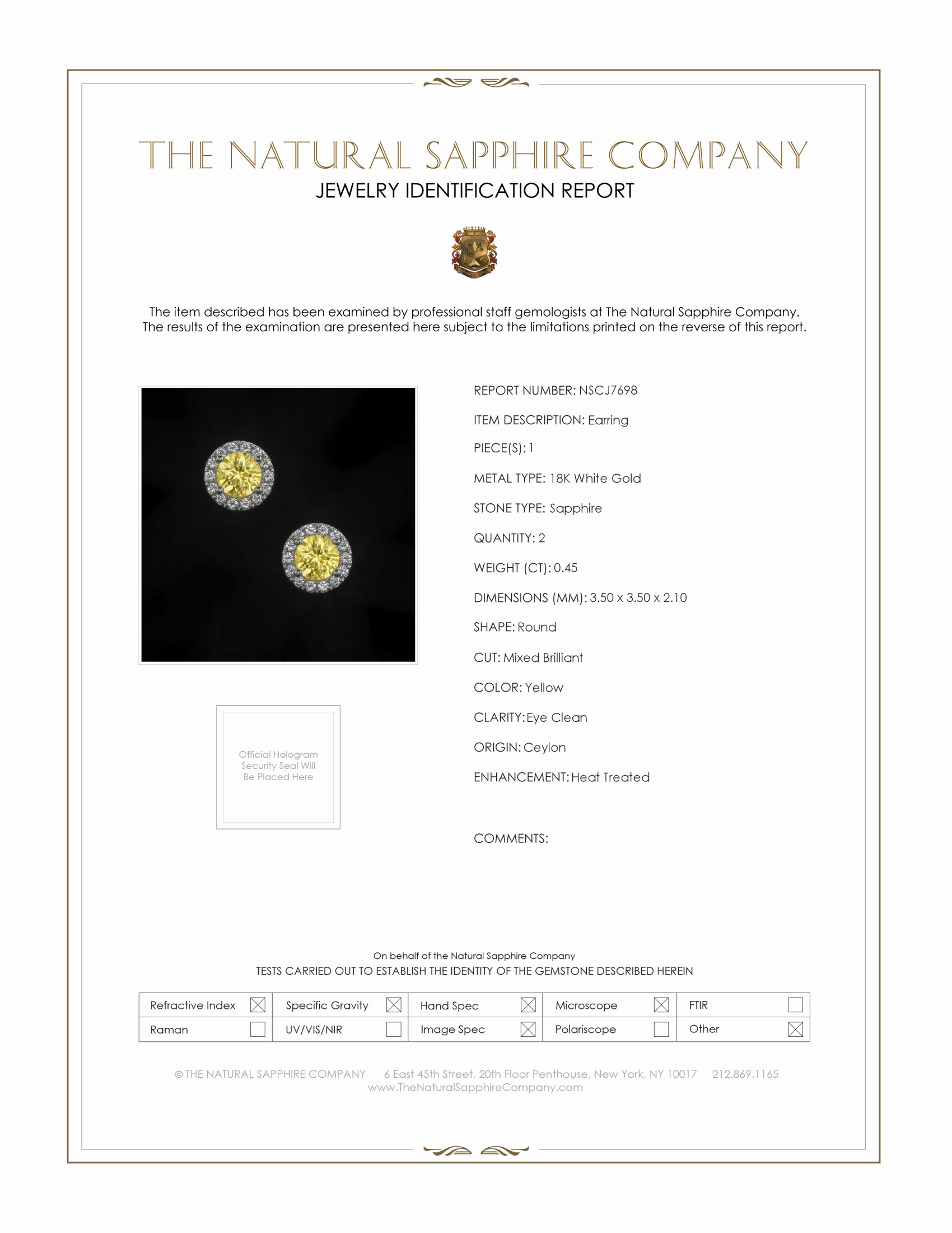 0.45ct Yellow Sapphire Earring Certification