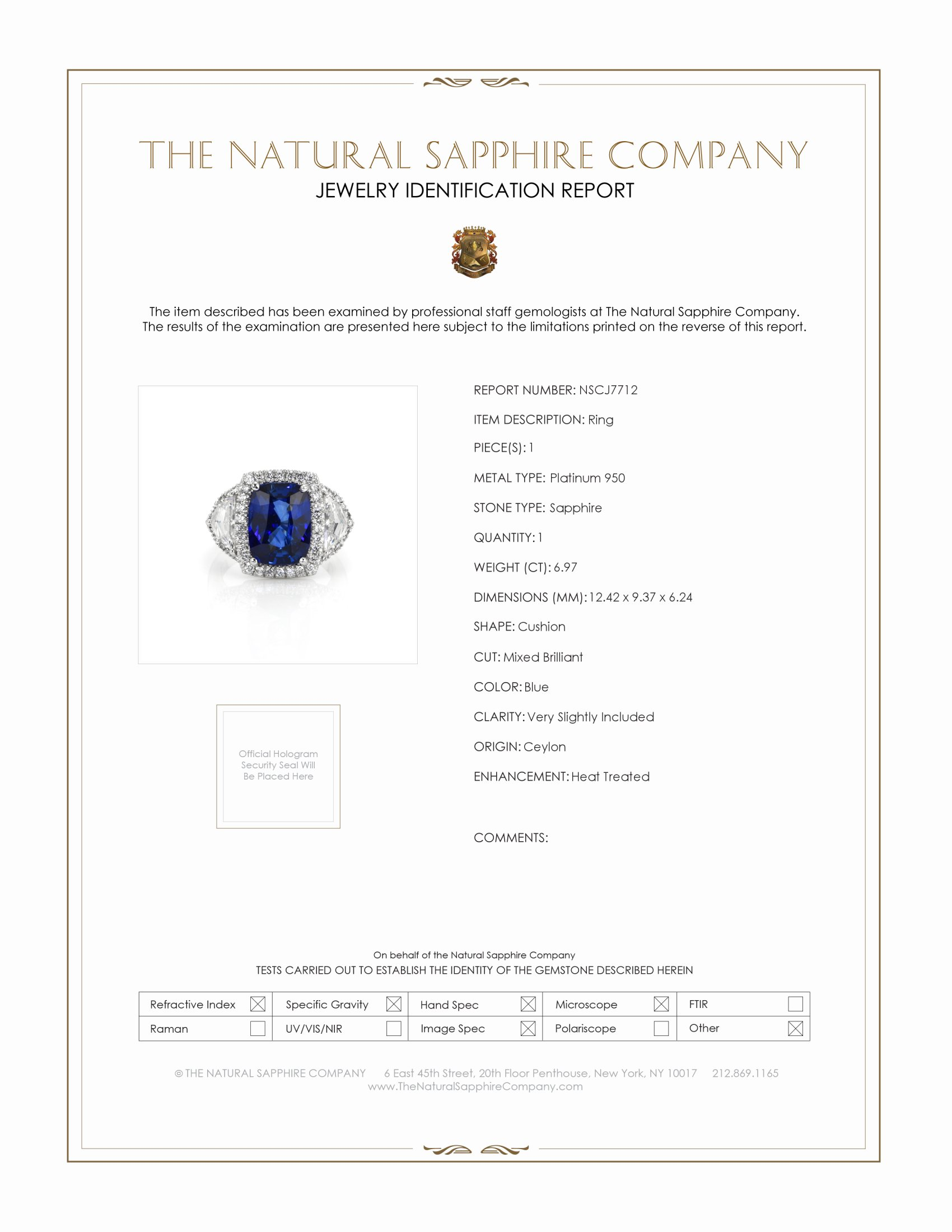 6.97ct Blue Sapphire Ring Certification