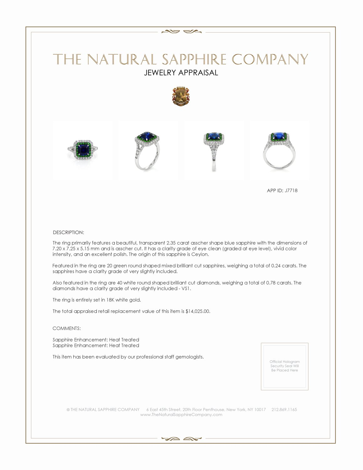 2.35ct Blue Sapphire Ring Certification