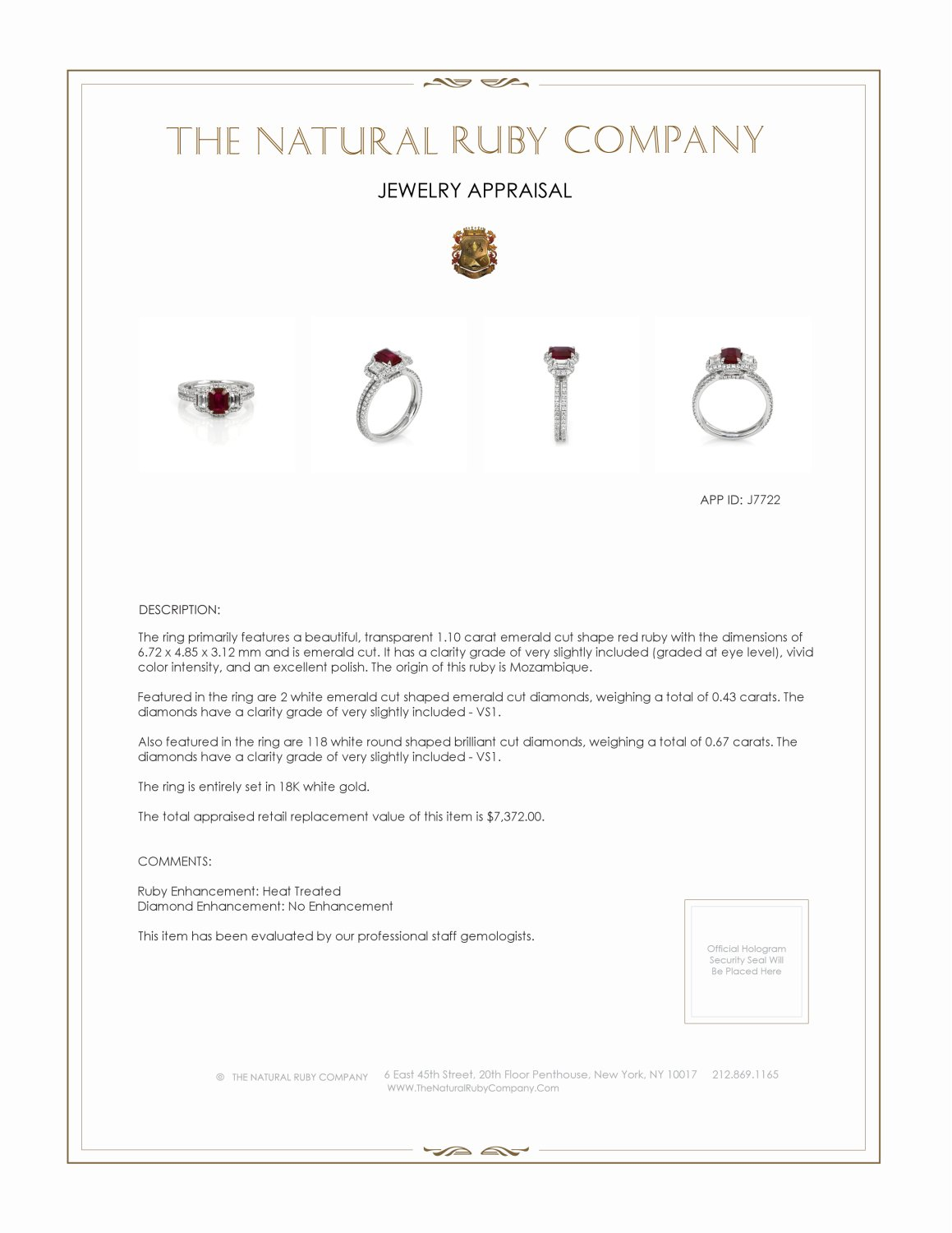 1.10ct Ruby Ring Certification 2