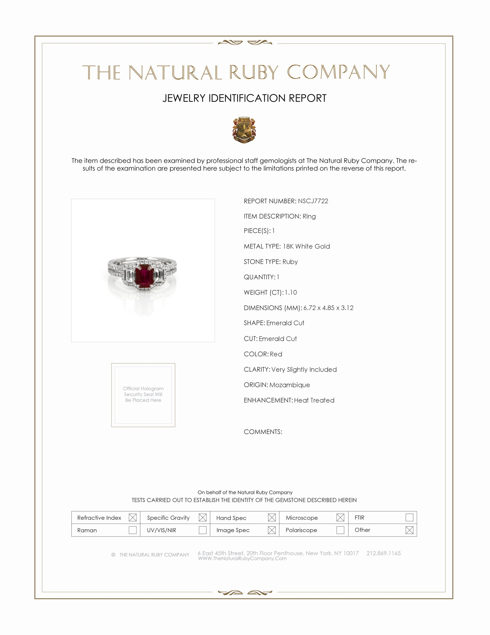 1.10ct Ruby Ring Certification